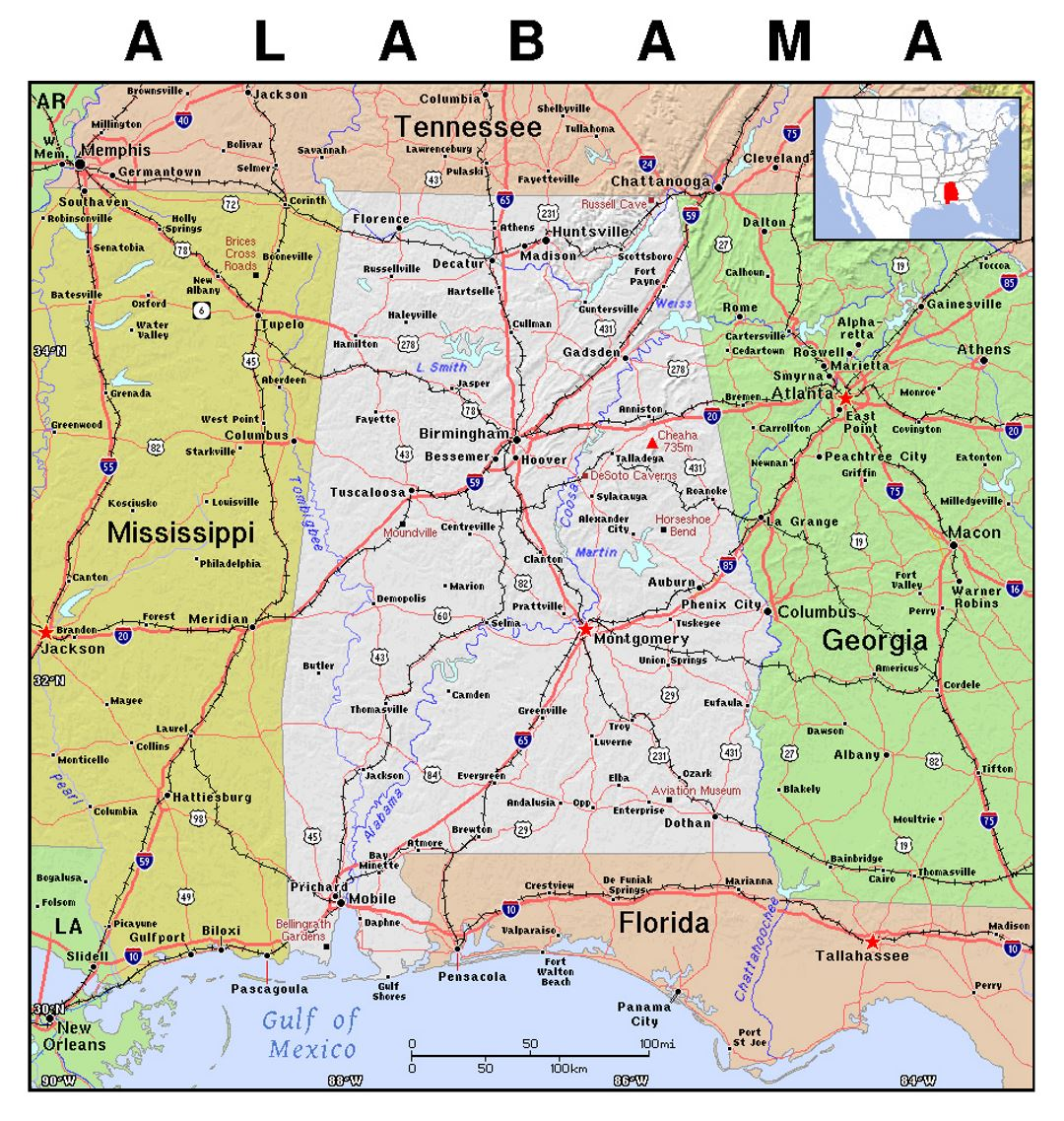 Detailed map of Alabama state with relief | Alabama state | USA ...