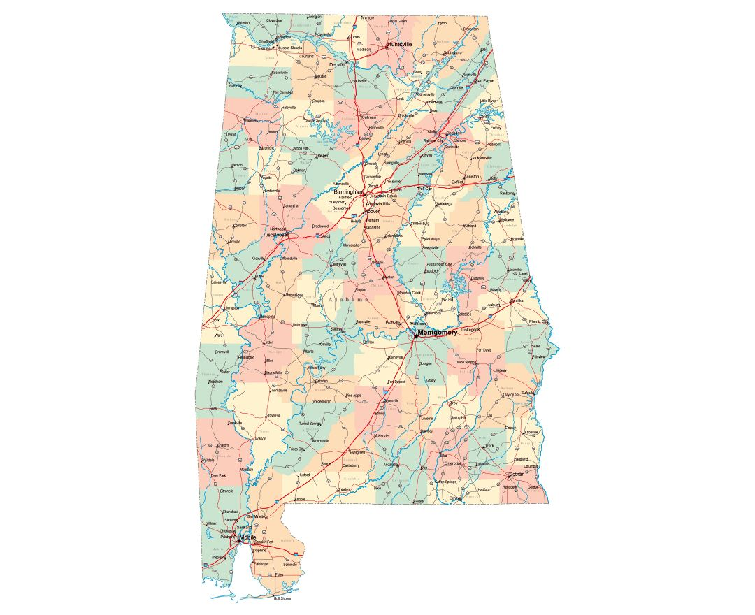 Maps Of Alabama State Collection Of Detailed Maps Of Alabama - State map of alabama with cities