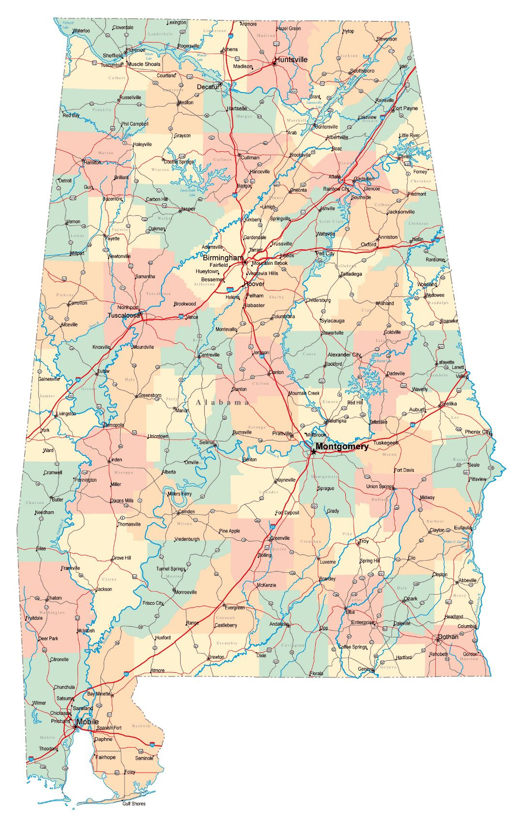 Large administrative map of Alabama state with roads, highways and cities