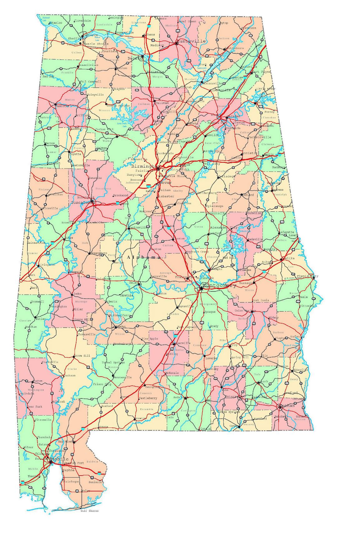 Large detailed administrative map of Alabama state with roads, highways and cities