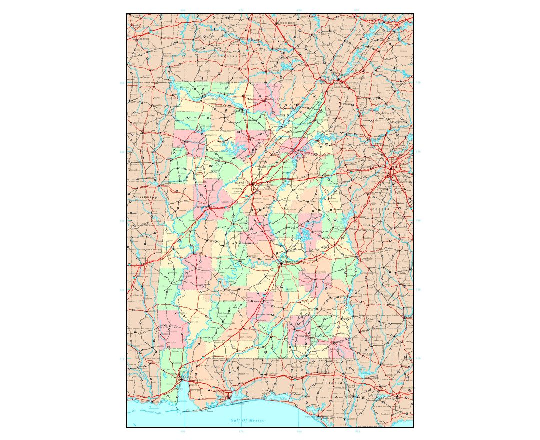 Maps of Alabama state Collection of detailed maps of Alabama state