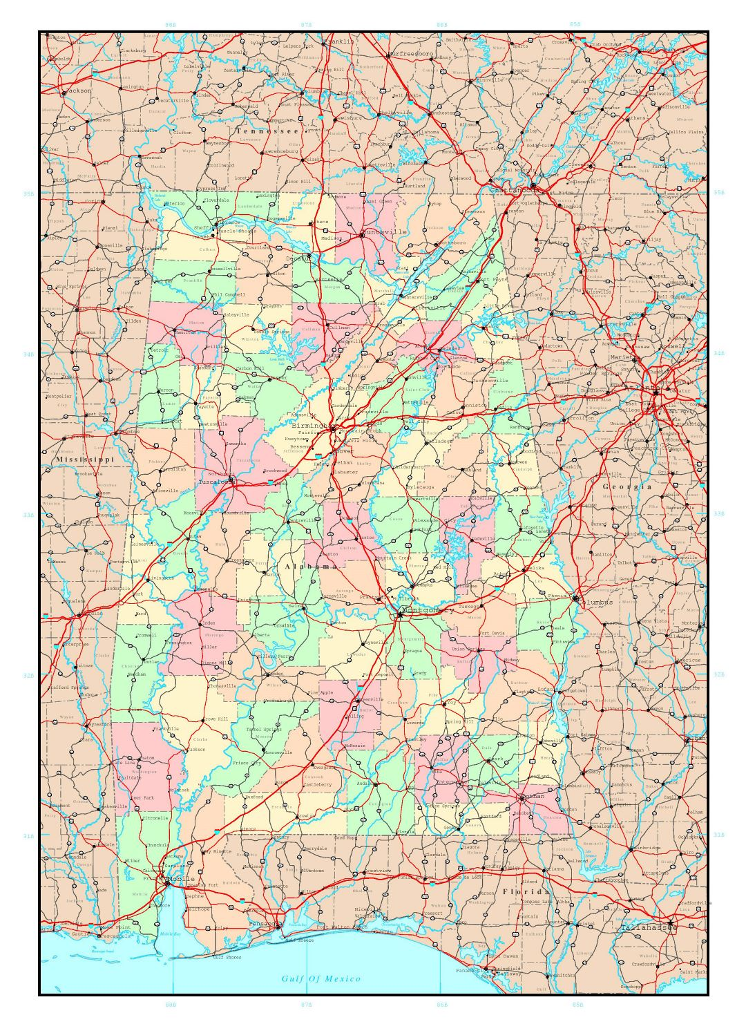 Large detailed administrative map of Alabama state with roads, highways and major cities