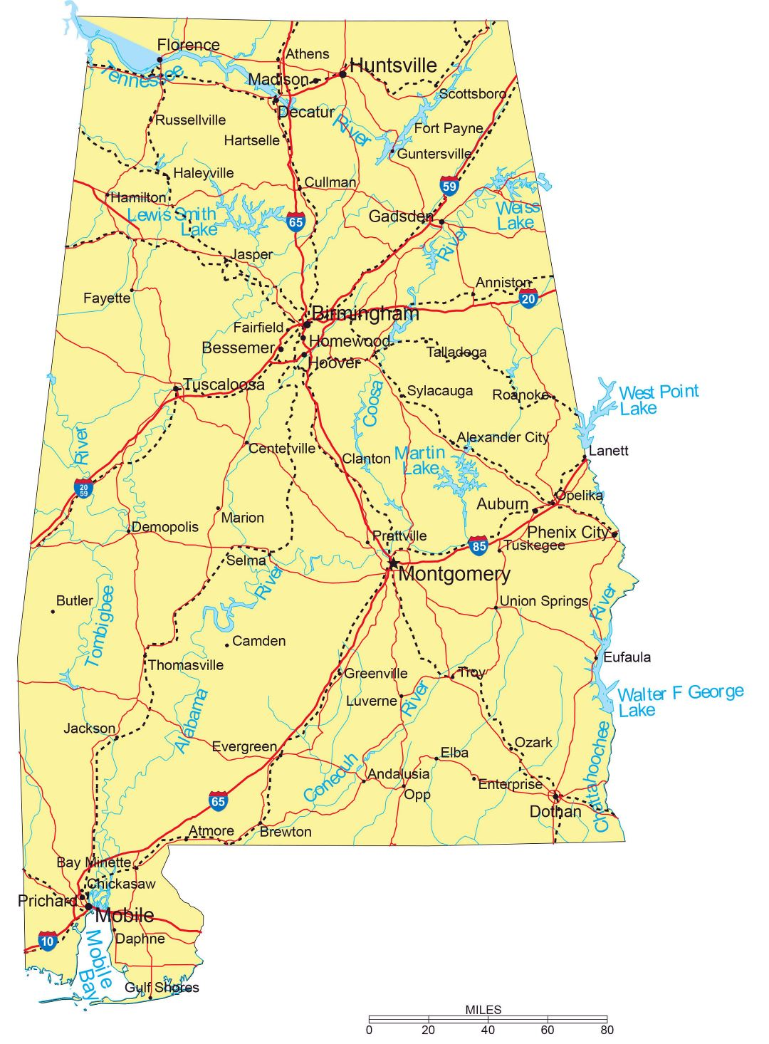Large detailed highways map of Alabama with major cities