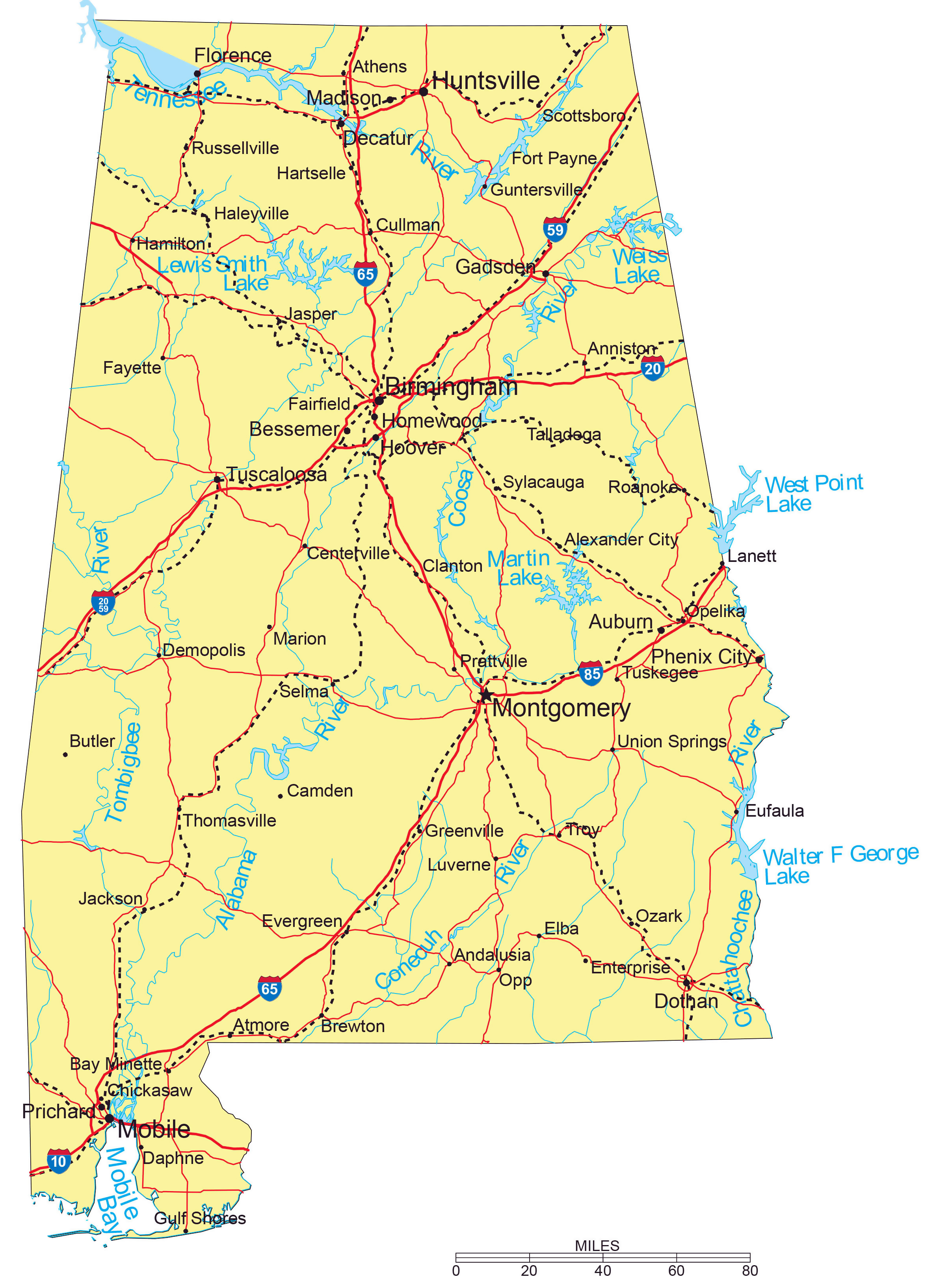 Large detailed highways map of Alabama with major cities ...