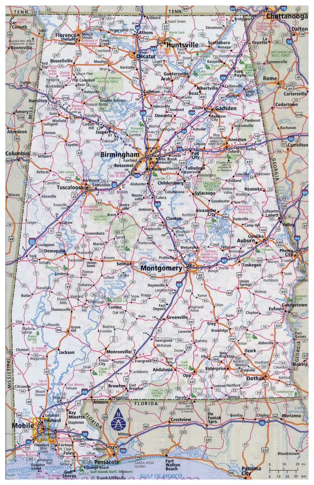 Large detailed roads and highways map of Alabama state with all cities