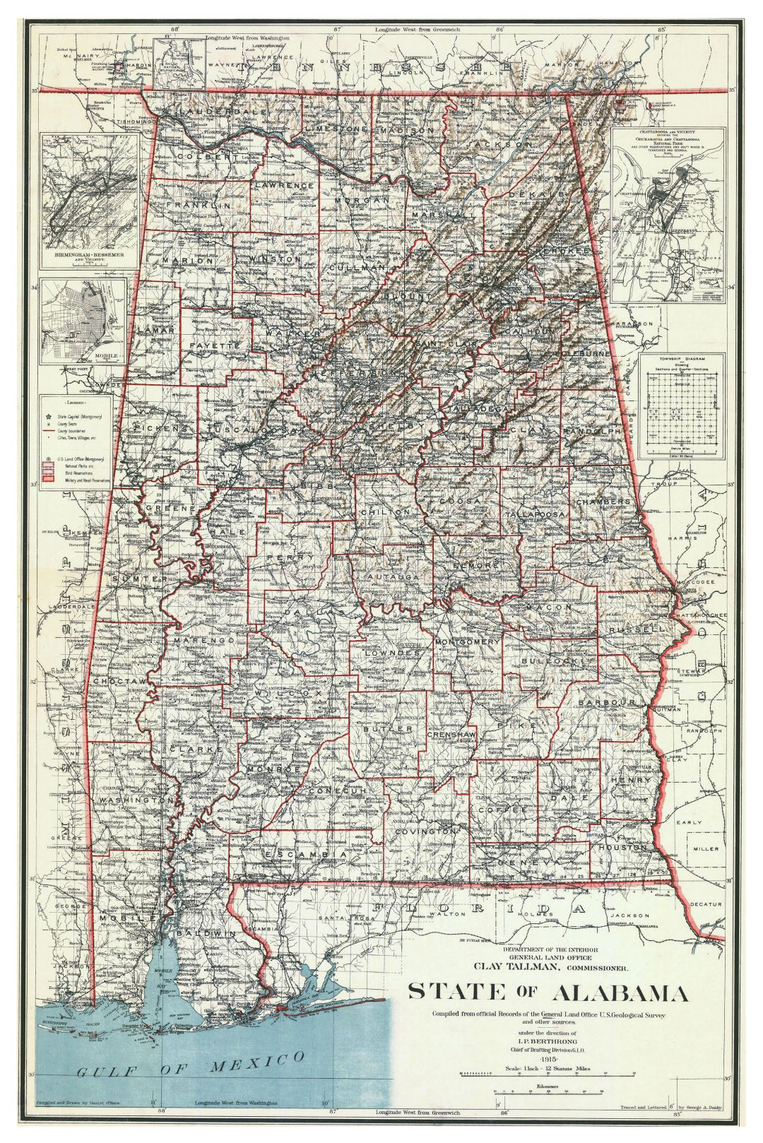 Large old administrative map of Alabama state - 1915