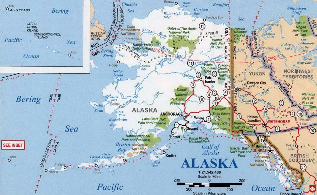 Detailed map of Alaska state with national parks