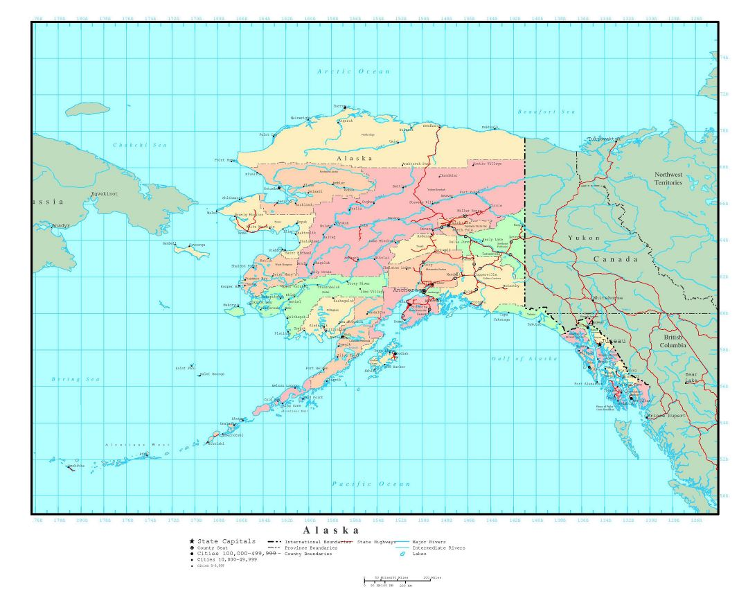 Large administrative map of Alaska state with roads and major cities