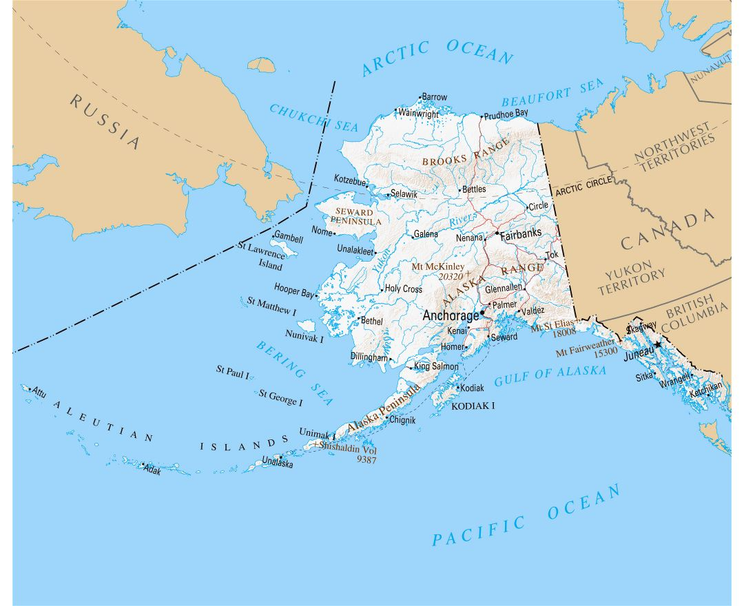 Large detailed map of Alaska state with relief and cities