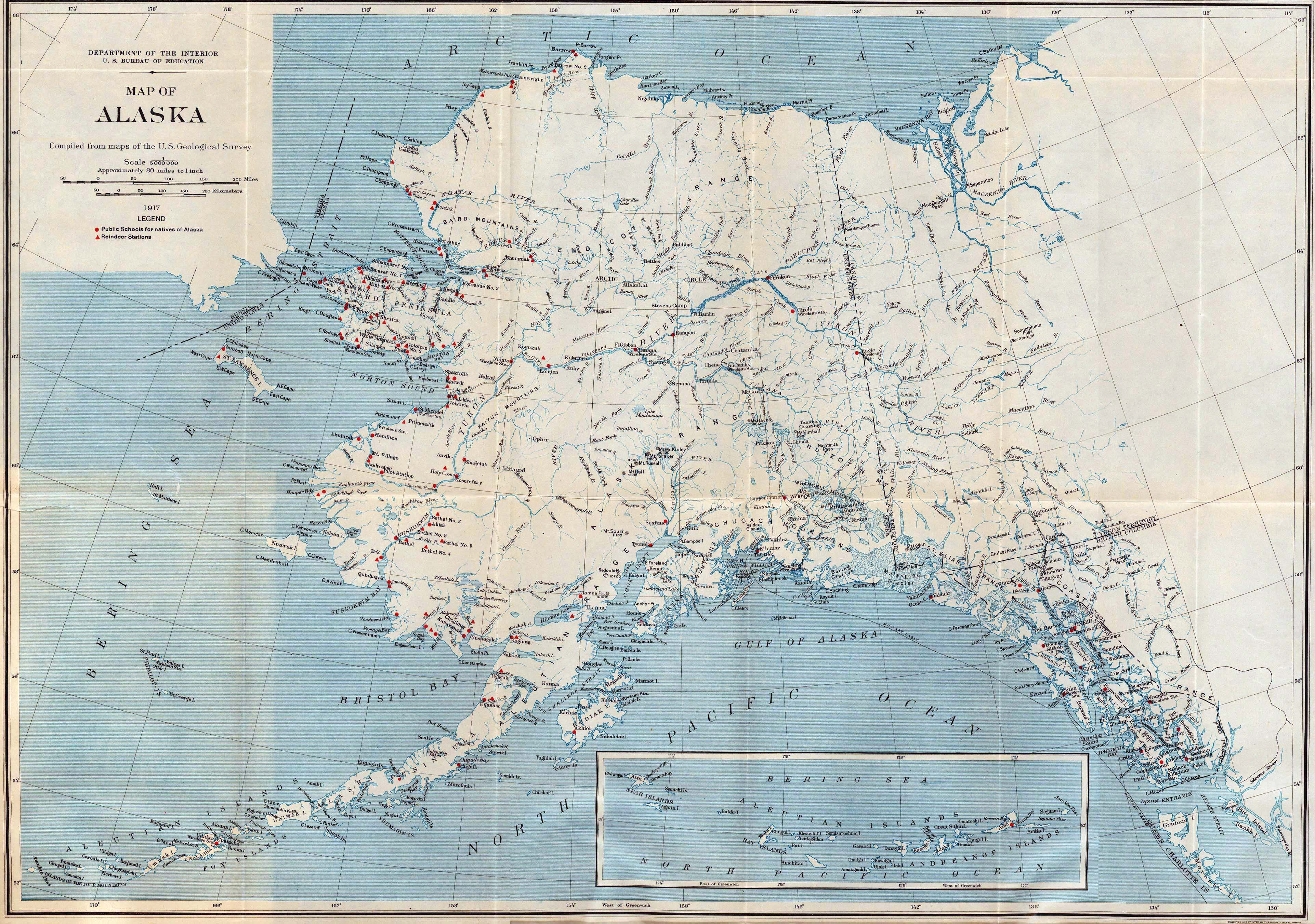 Large detailed old map of Alaska 1917 Alaska state USA
