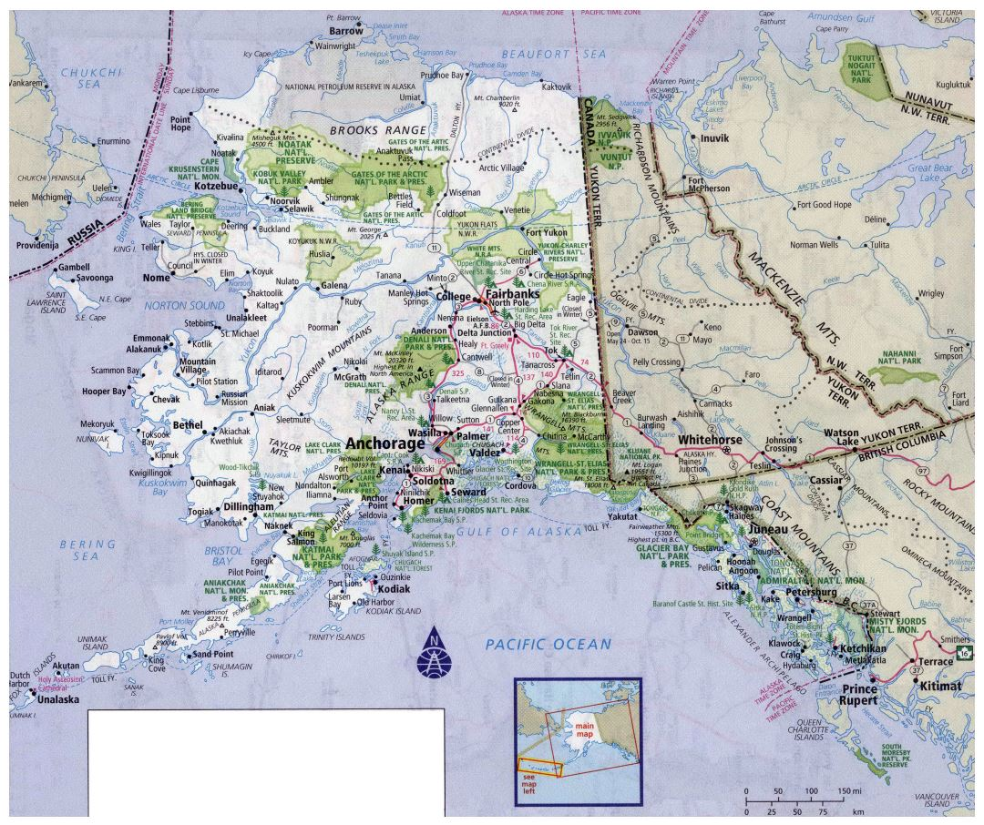 Large detailed roads and highways map of Alaska state with all cities and national parks
