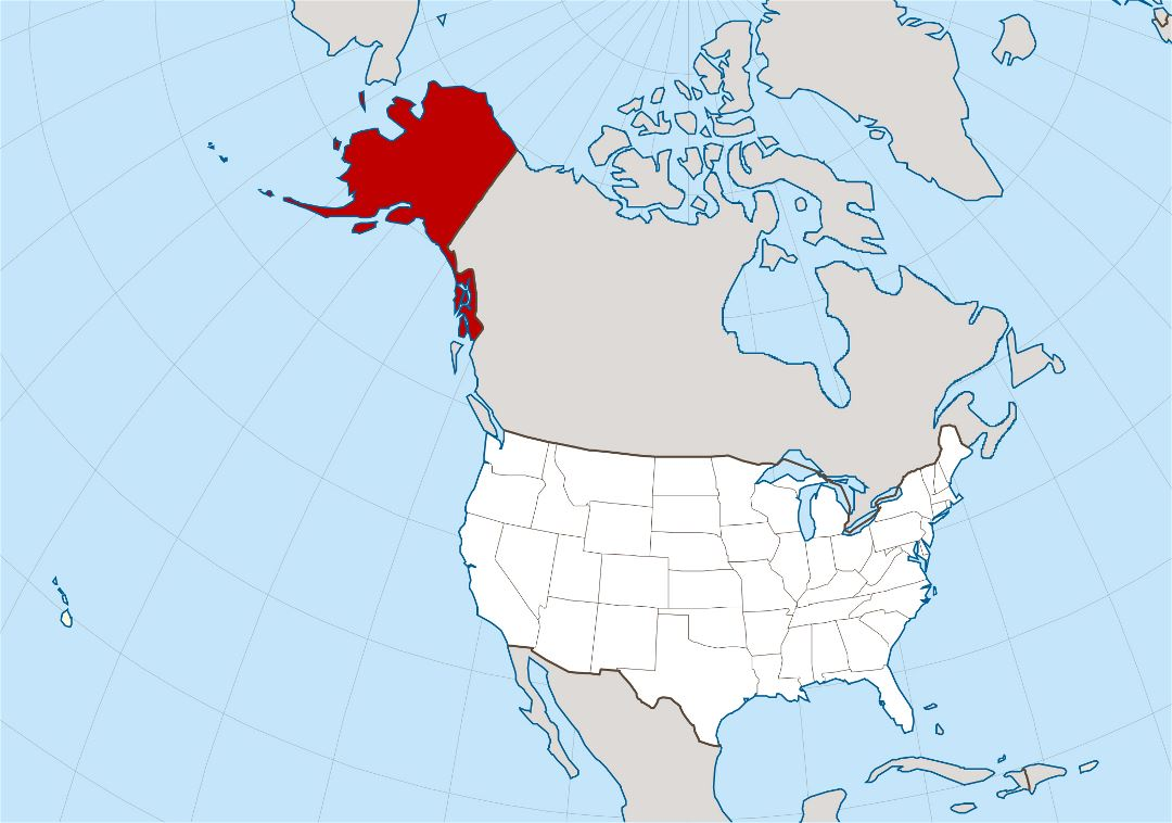 Large location map of Alaska state