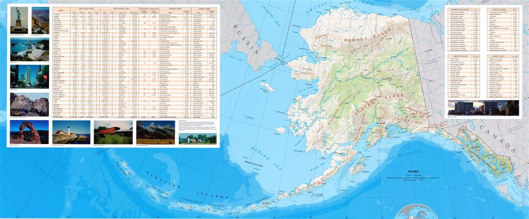 Large map of Alaska state with relief