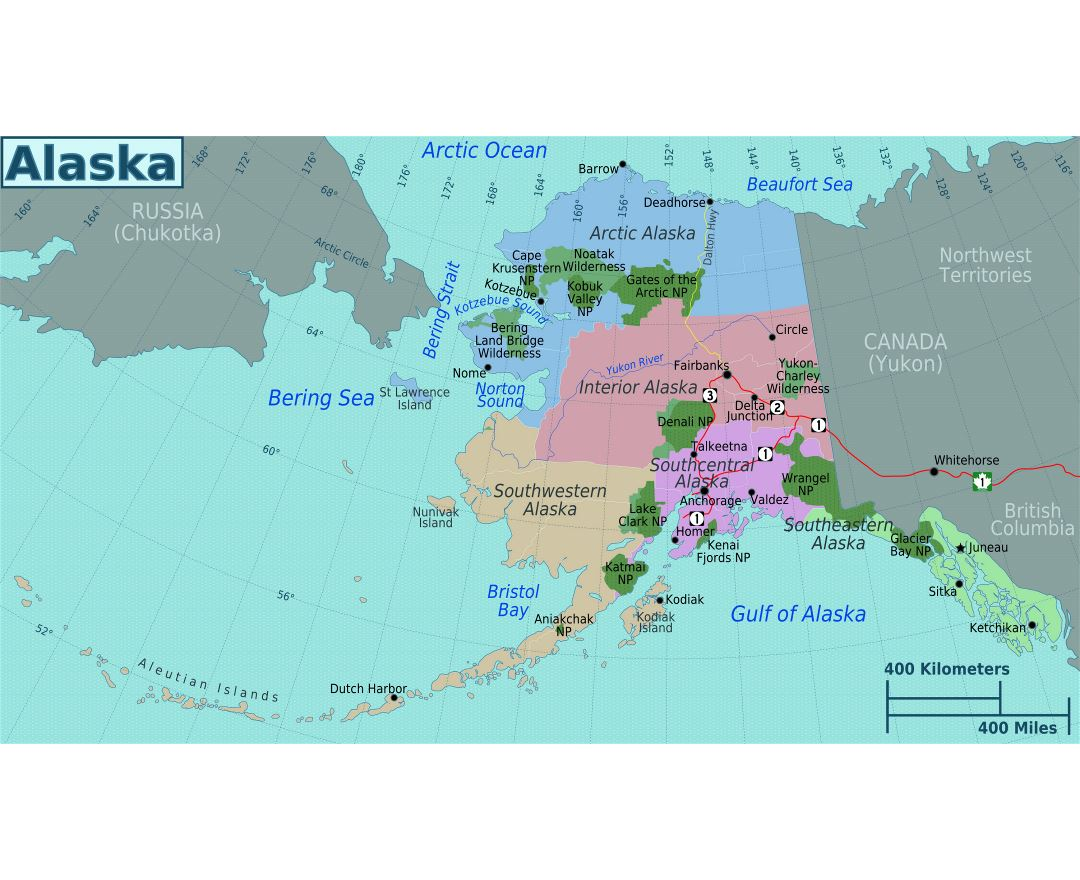 Large regions map of Alaska state
