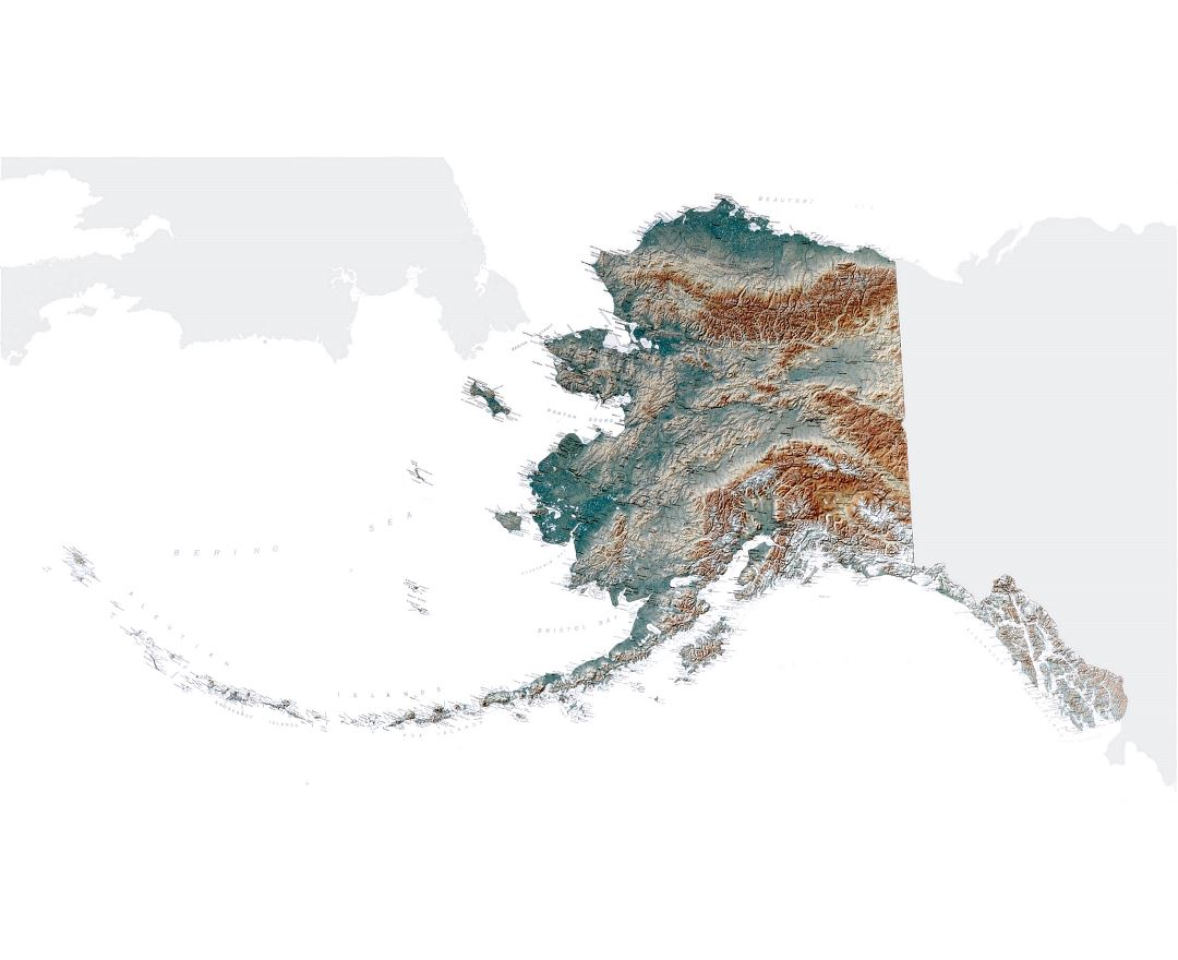 Large topographical map of Alaska state