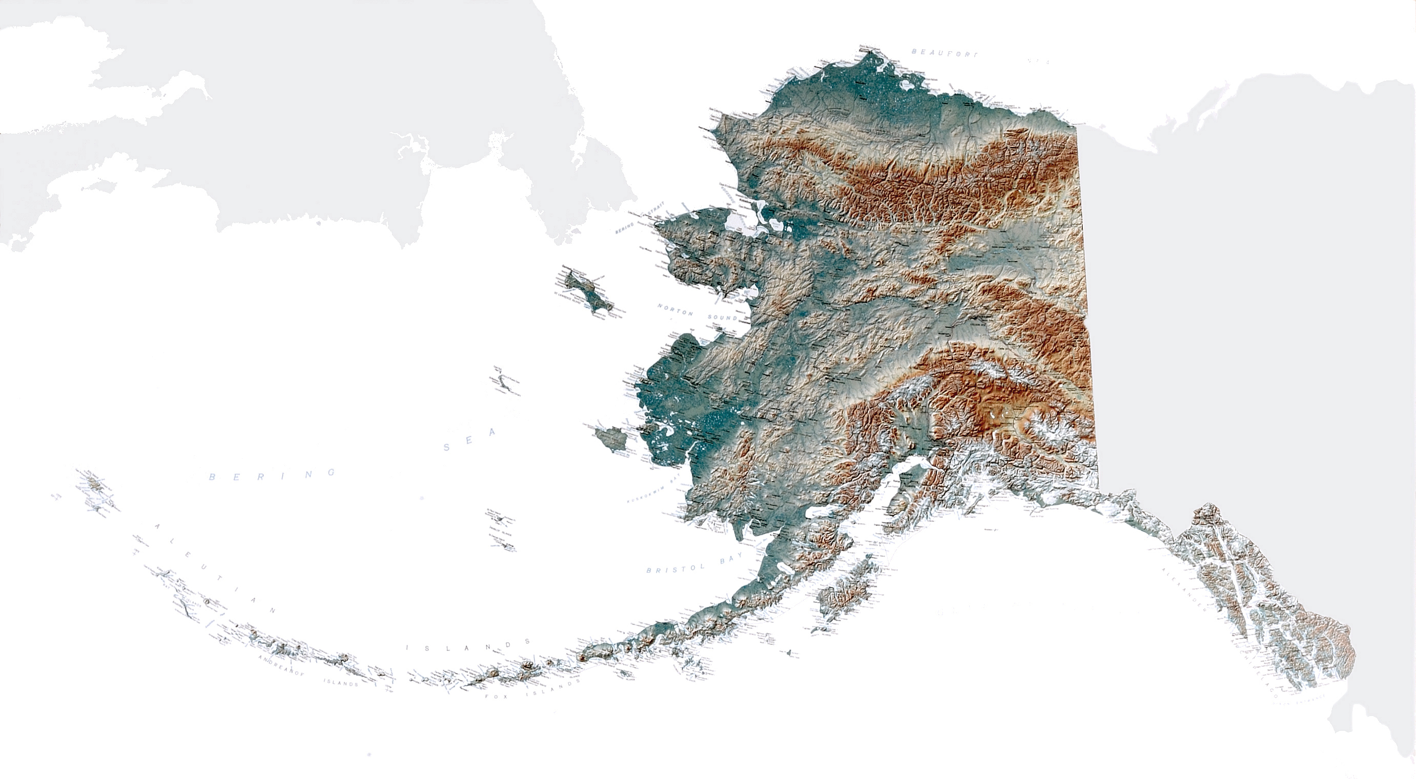 Large Topographical Map Of Alaska State Alaska State Usa Maps