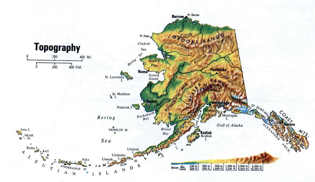 Large topography map of Alaska state