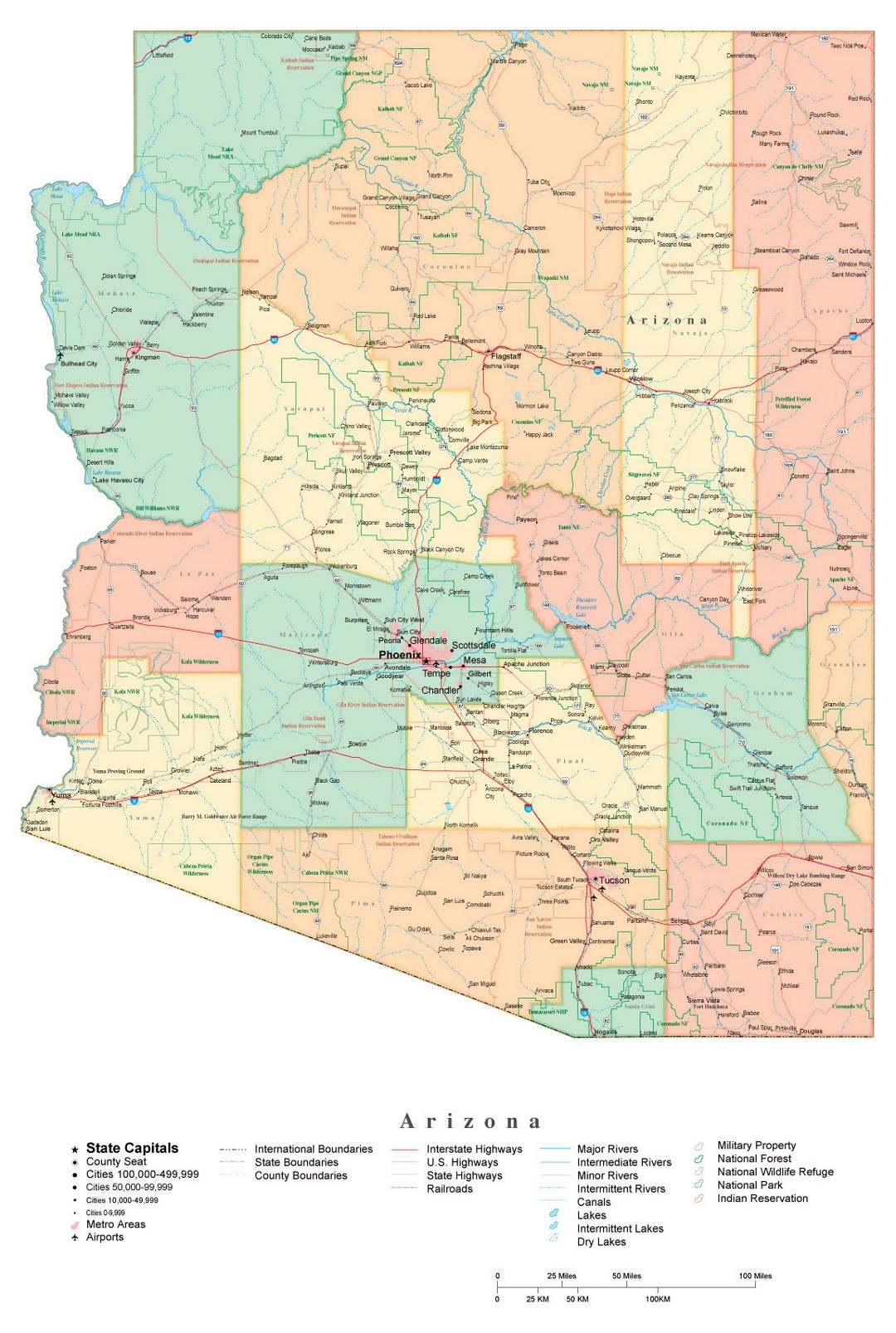 Administrative map of Arizona state