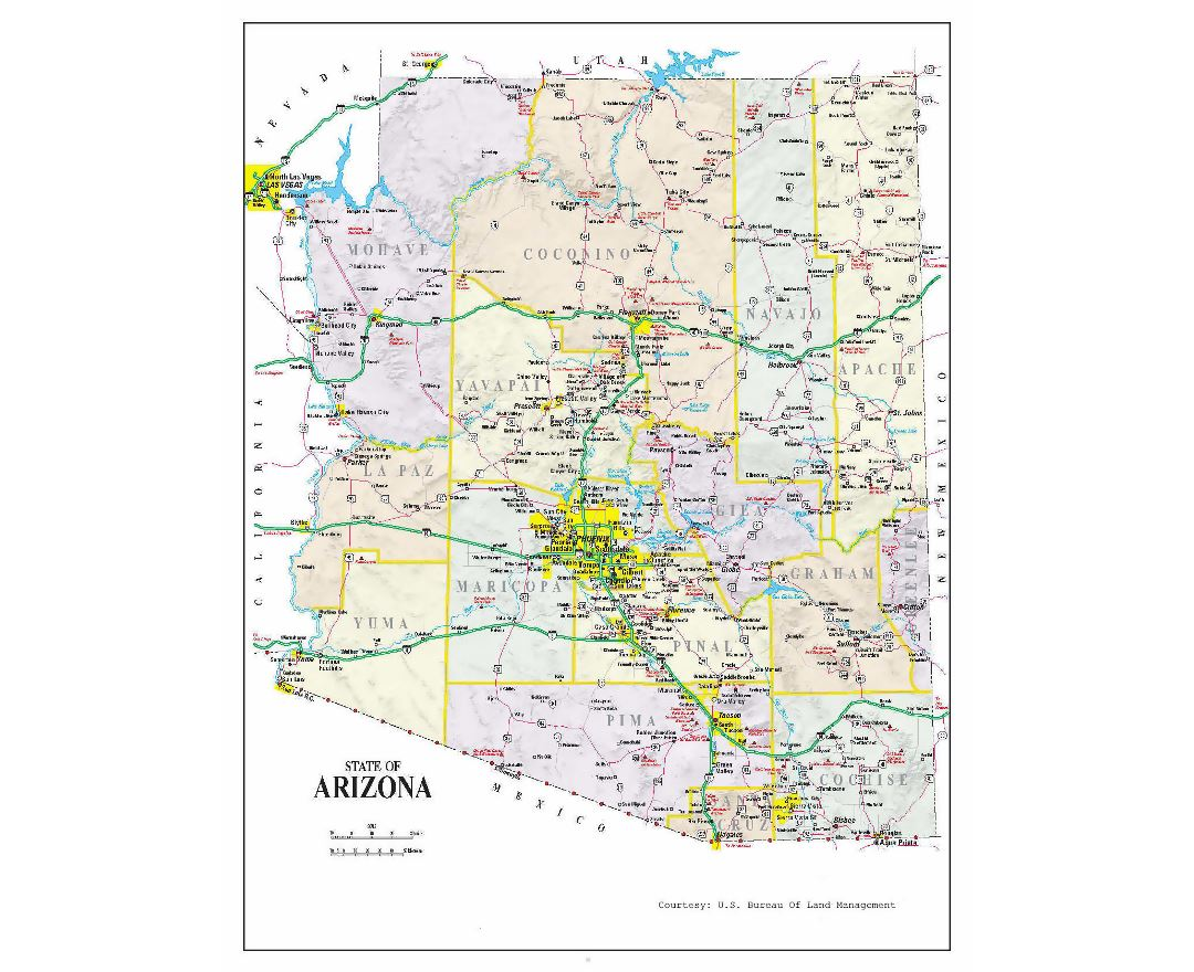 Administrative map of Arizona with roads and cities