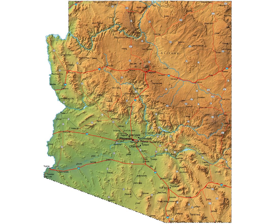 Detailed elevation map of Arizona state with roads and cities