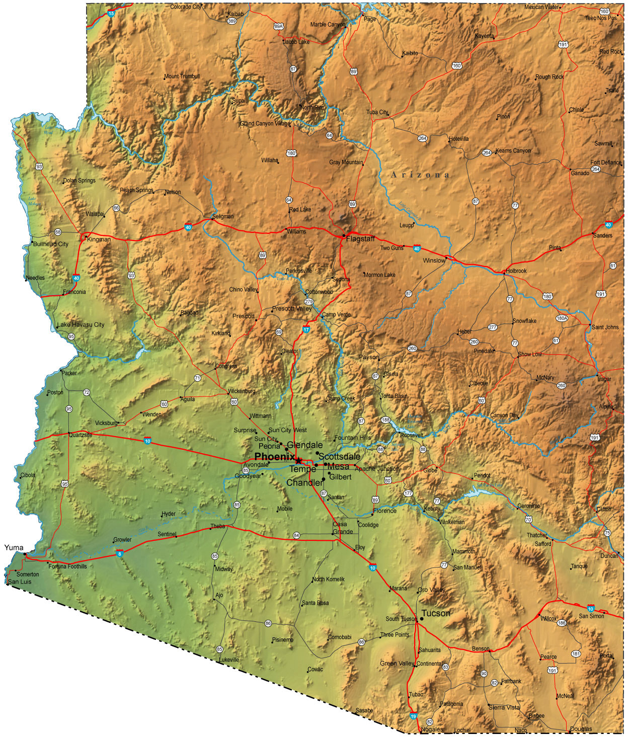 Detailed elevation map of Arizona state with roads and cities ...