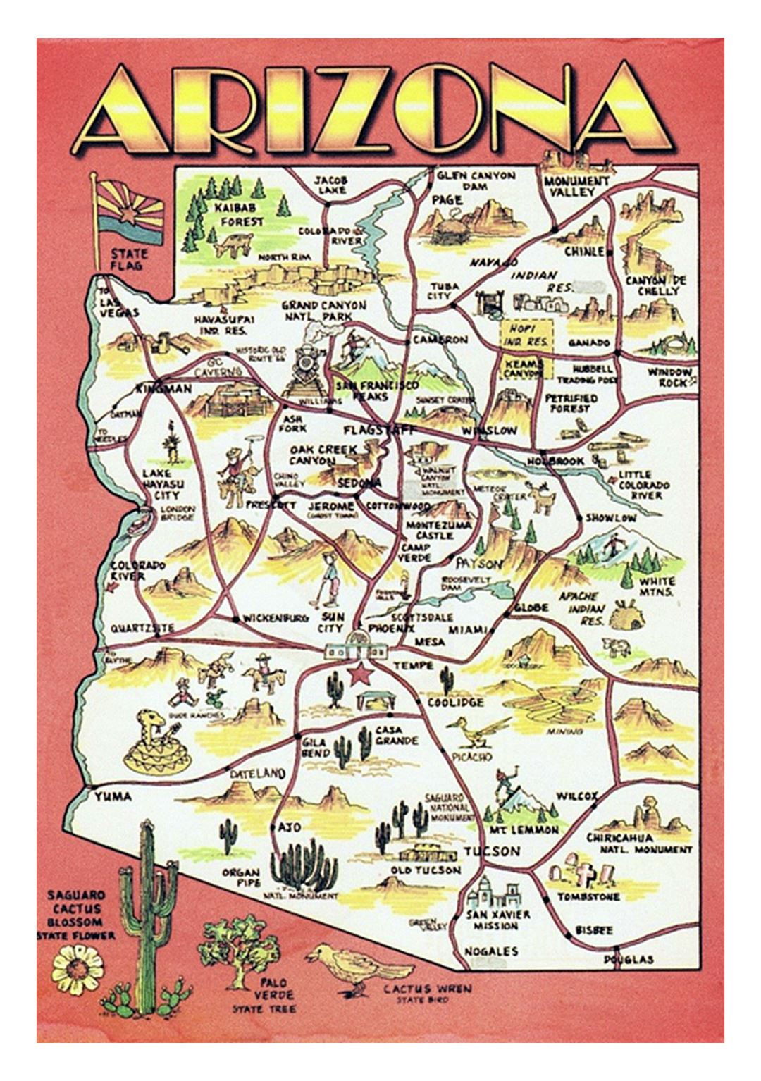 Travel Map Of Arizona Detailed travel illustrated map of Arizona state | Arizona state
