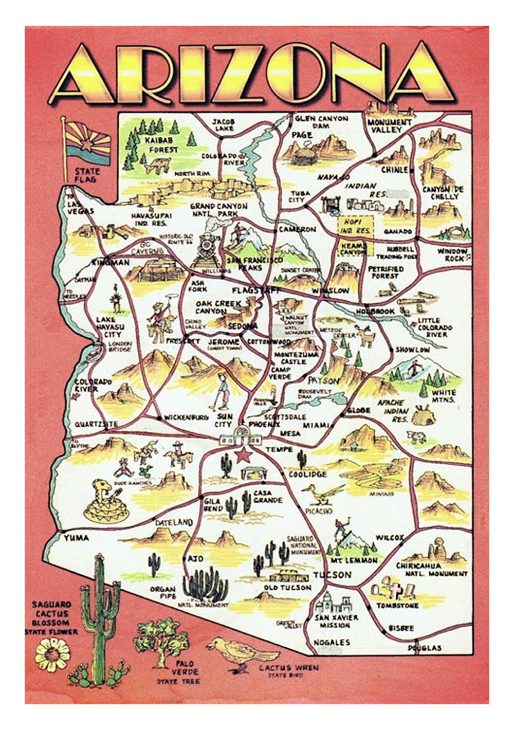 Map Of Arizona Detailed.Detailed Travel Illustrated Map Of Arizona State Arizona State