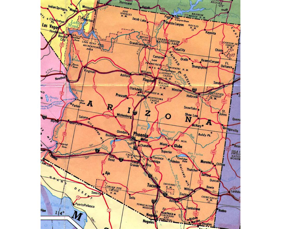 Highways map of Arizona state
