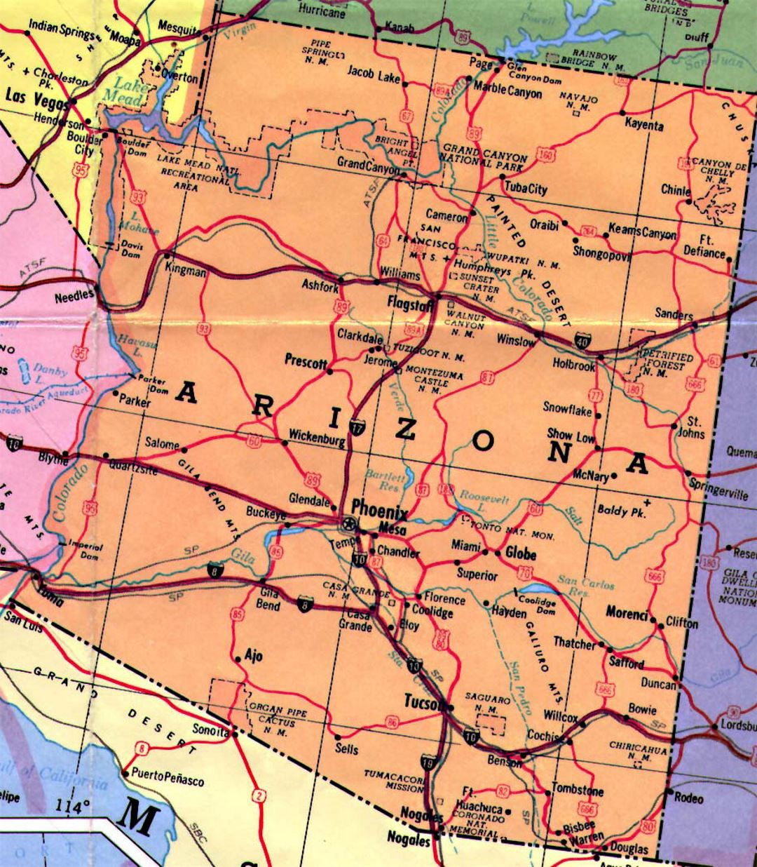 A Map Of Arizona State.Highways Map Of Arizona State Arizona State Usa Maps Of The