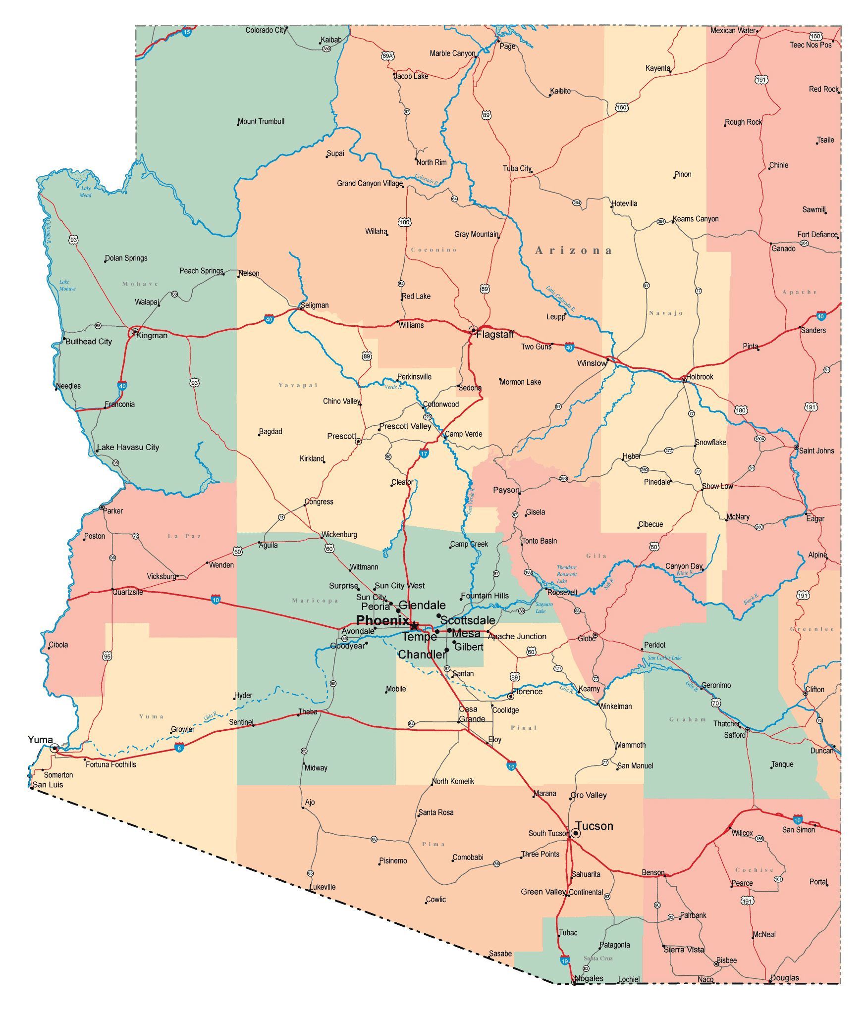 Large administrative map of Arizona state with roads, highways and ...