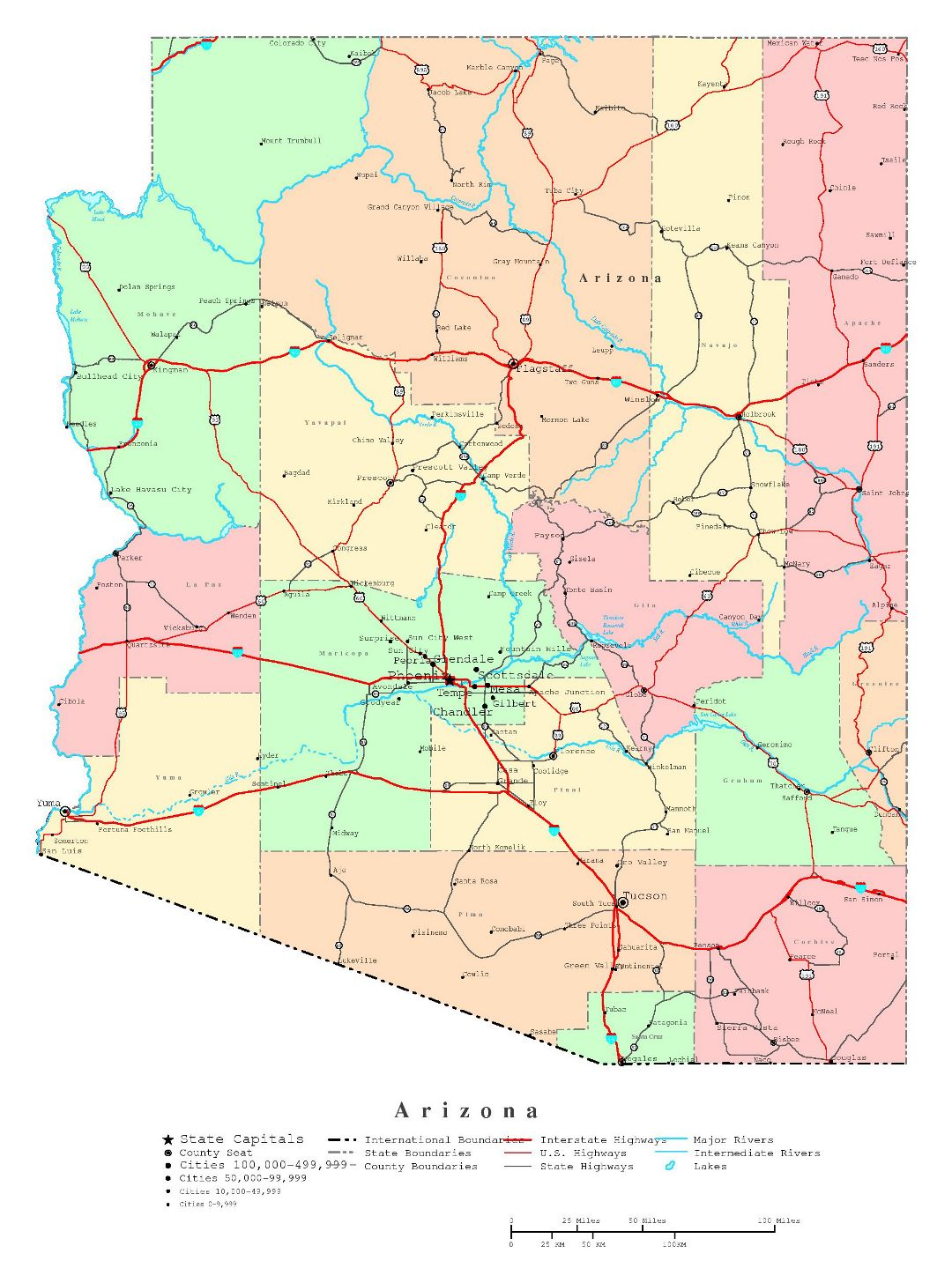 Large detailed administrative map of Arizona state with roads, highways and cities