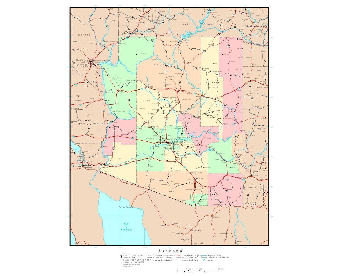 Large detailed administrative map of Arizona state with roads, highways and major cities