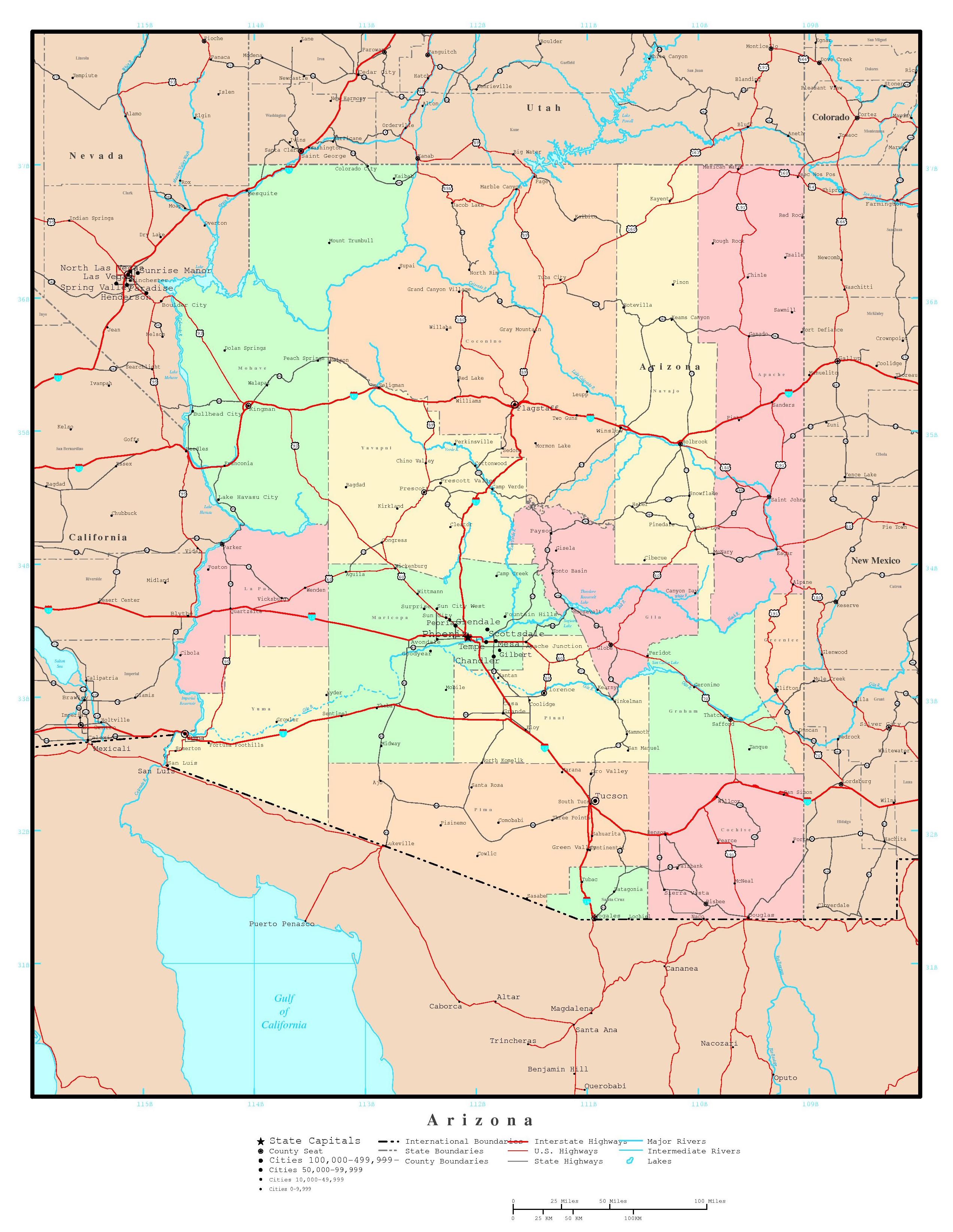 Map Of Arizona With Major Cities.Large Detailed Administrative Map Of Arizona State With Roads