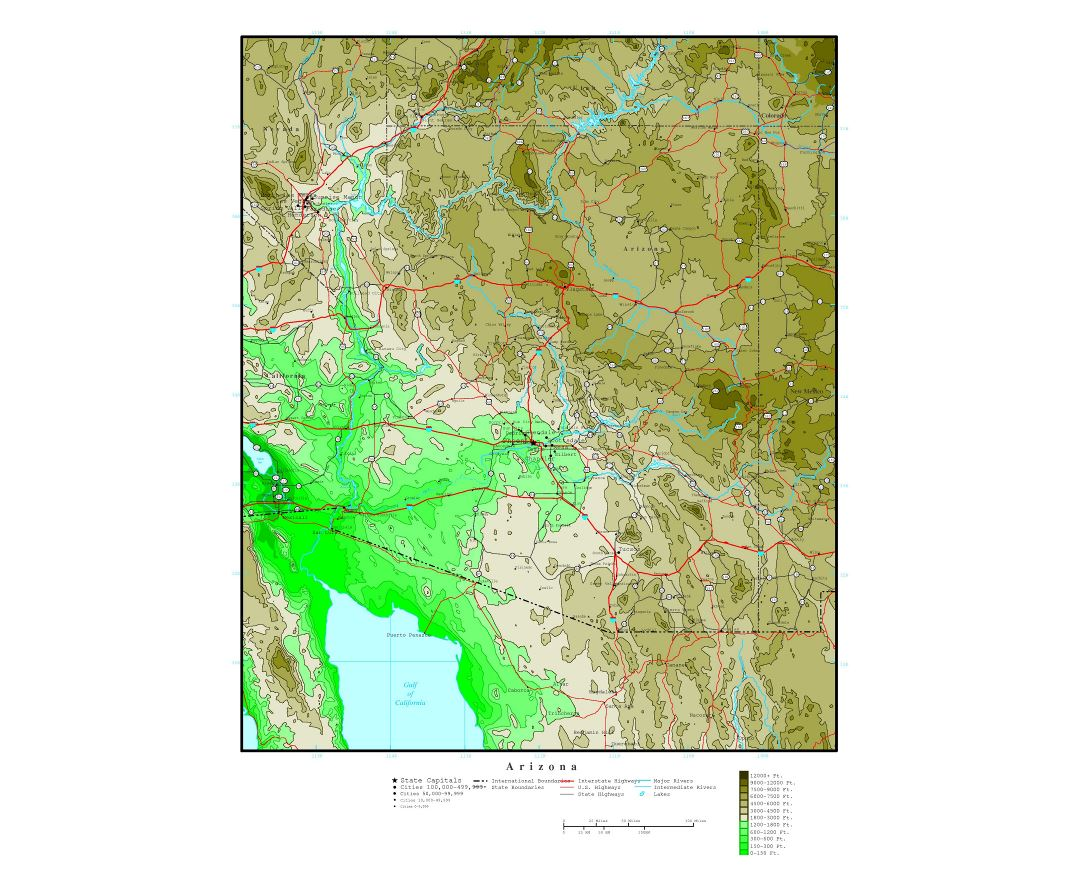 Large detailed elevation map of Arizona state with roads, highways and cities
