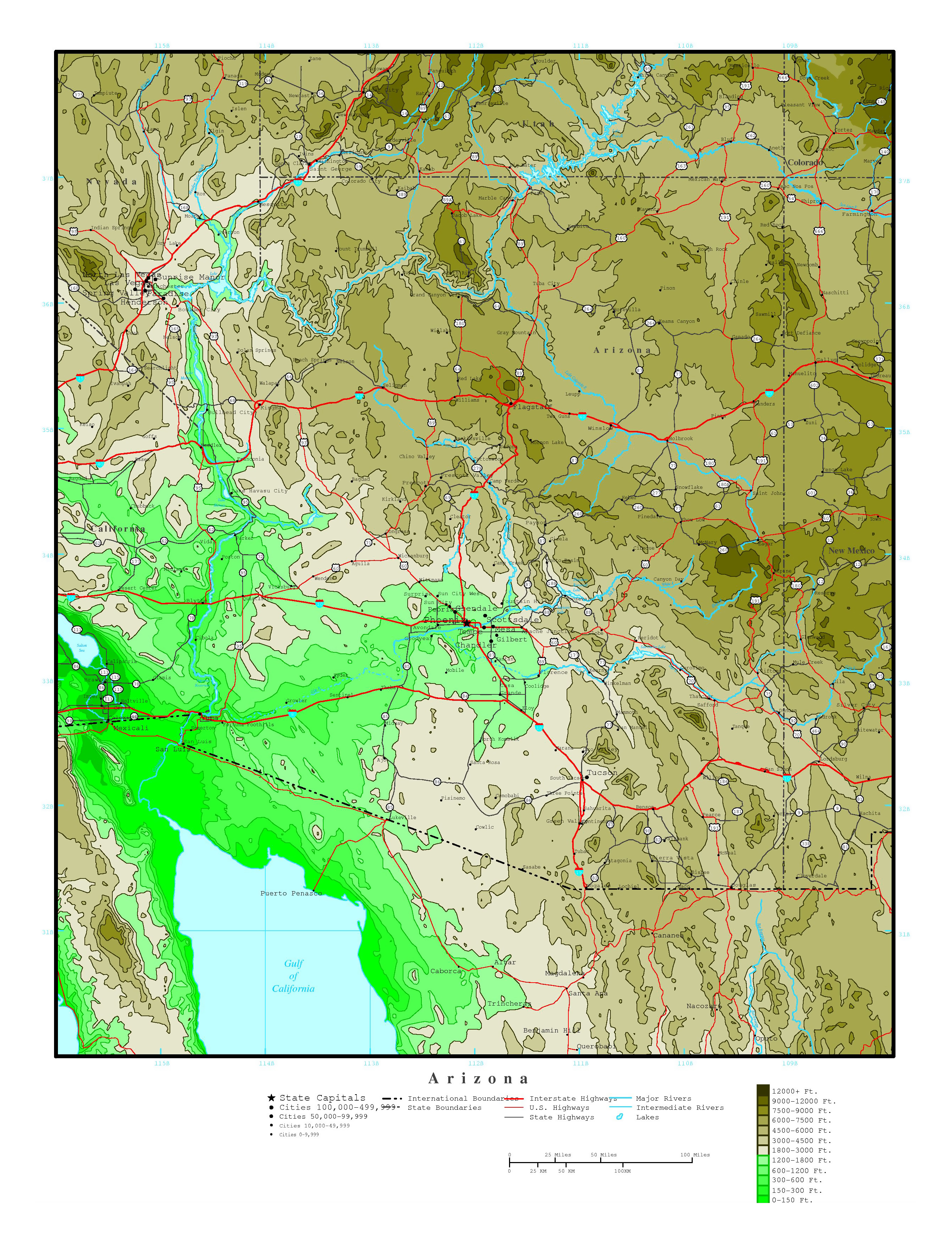 Large Detailed Elevation Map Of Arizona State With Roads Highways - Arizona state in usa map