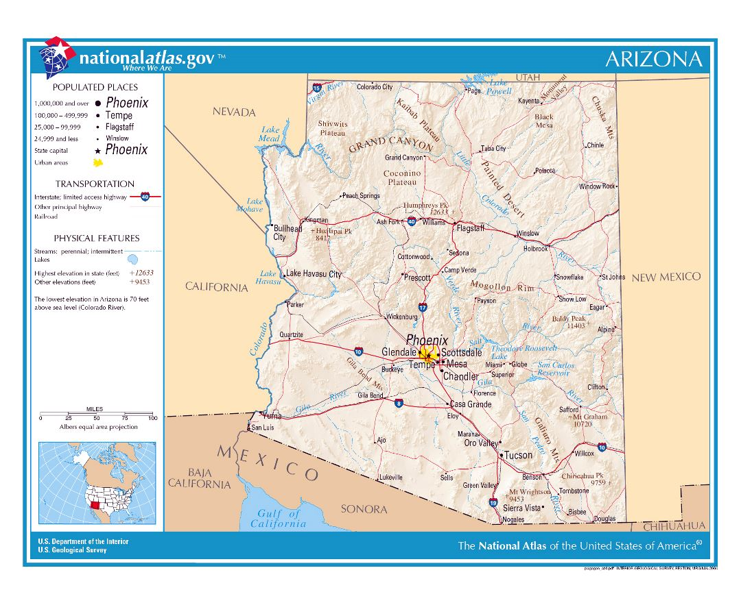 Large detailed map of Arizona state