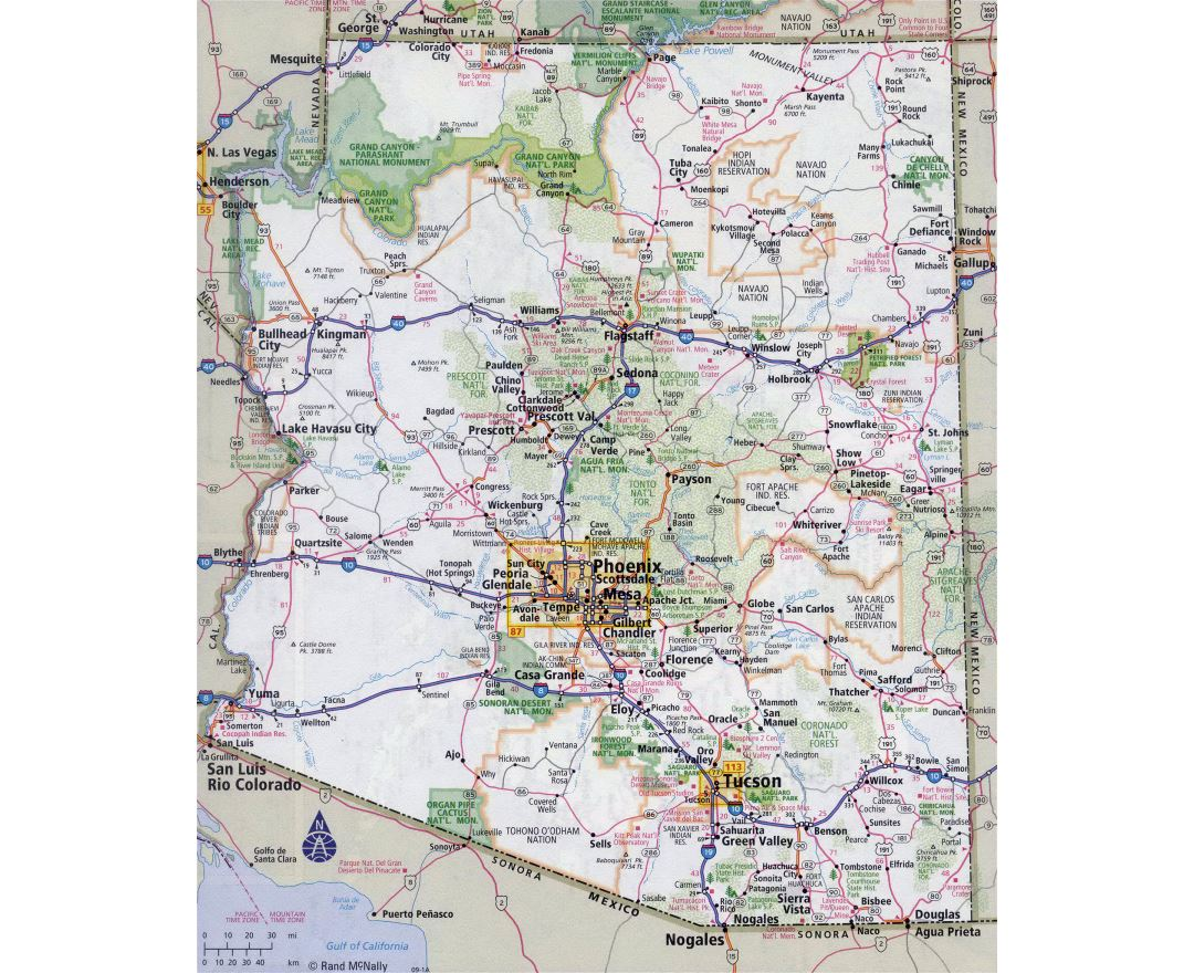 Large detailed roads and highways map of Arizona state with all cities