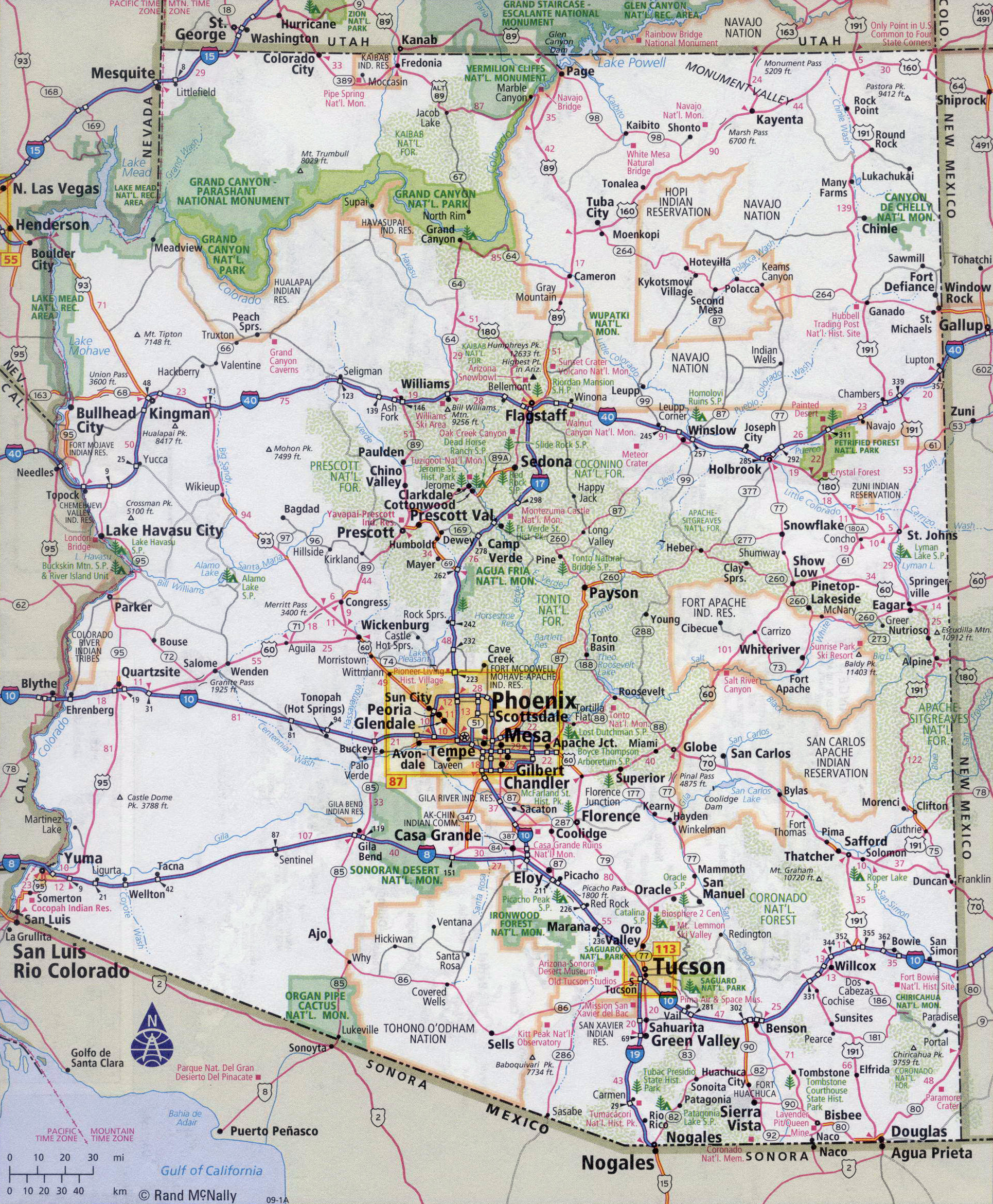 Large detailed roads and highways map of Arizona state with all