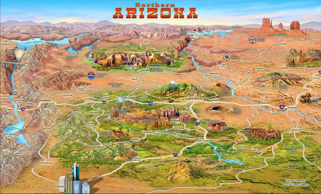 Large detailed tourist attractions panoramic map of Northern Arizona state
