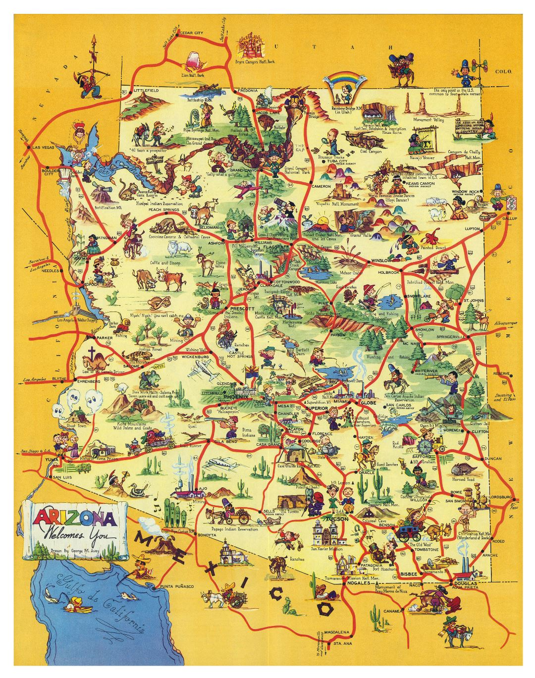 Large detailed travel illustrated map of state of Arizona
