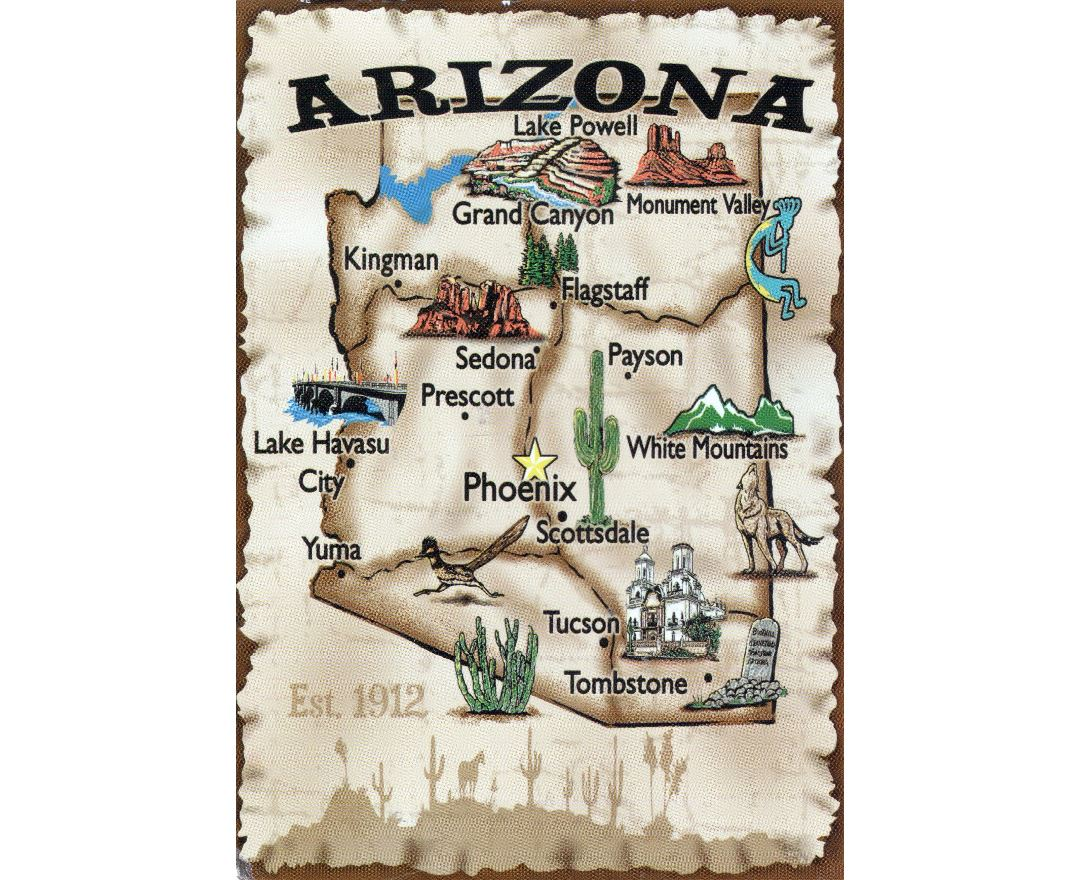 Travel illustrated map of Arizona state