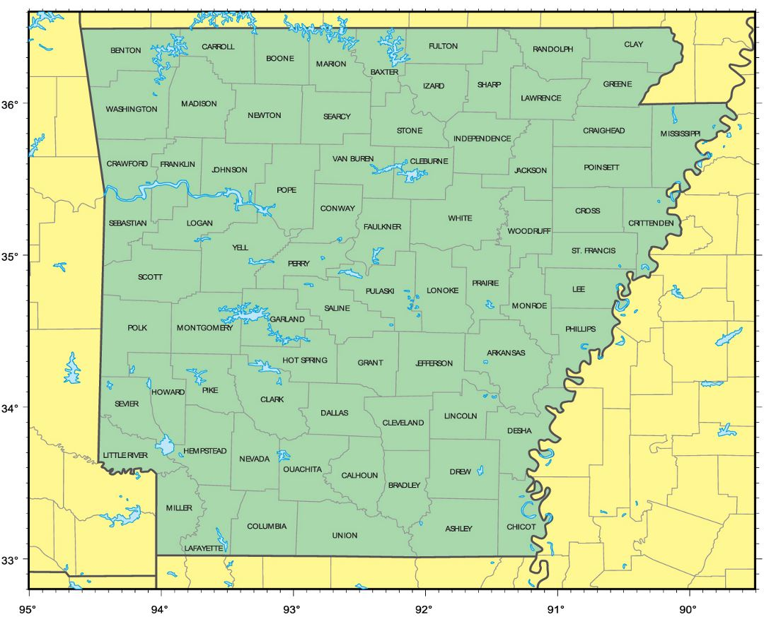 Detailed administrative map of Arkansas state