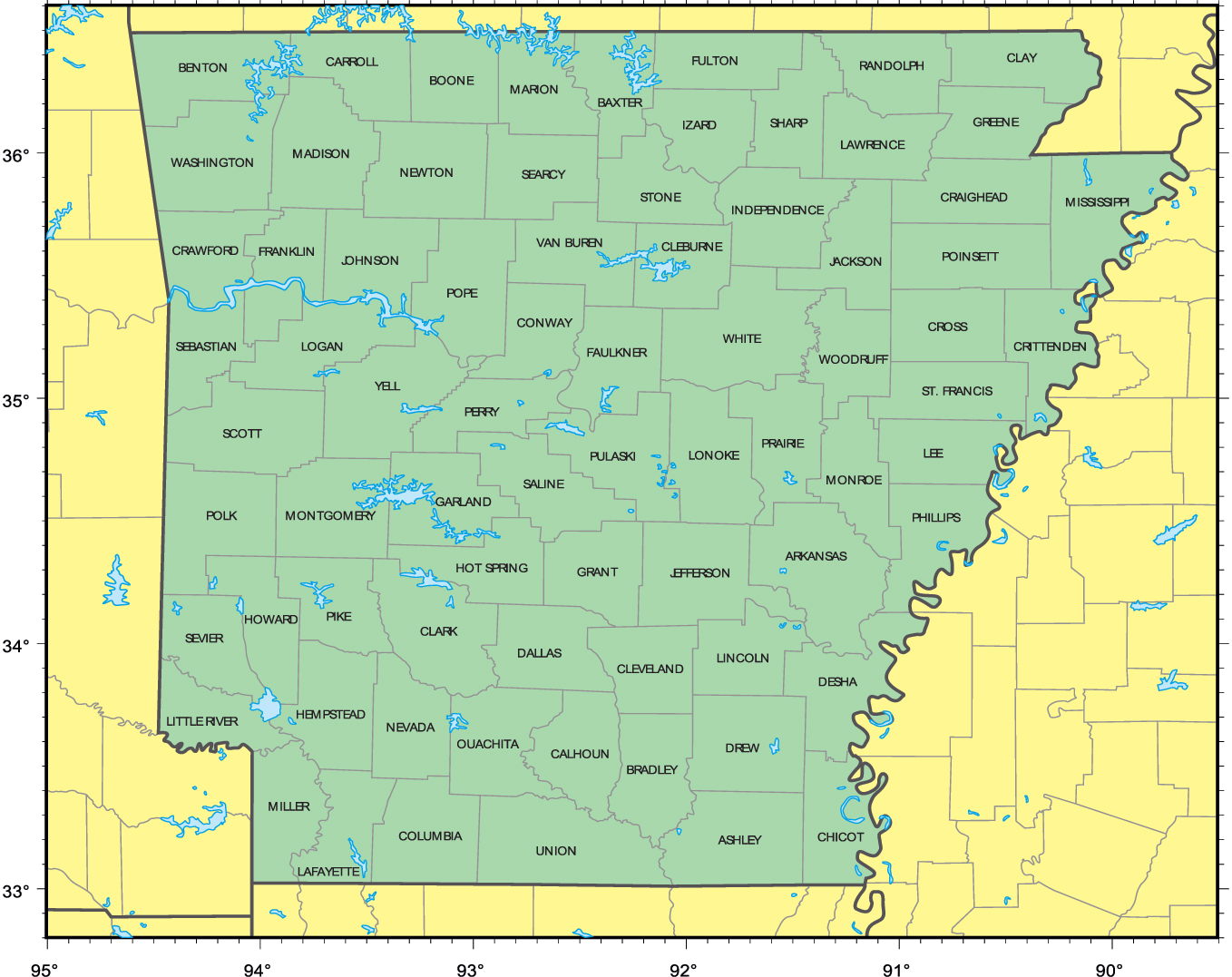 Detailed Administrative Map Of Arkansas State Arkansas State - State map of arkansas