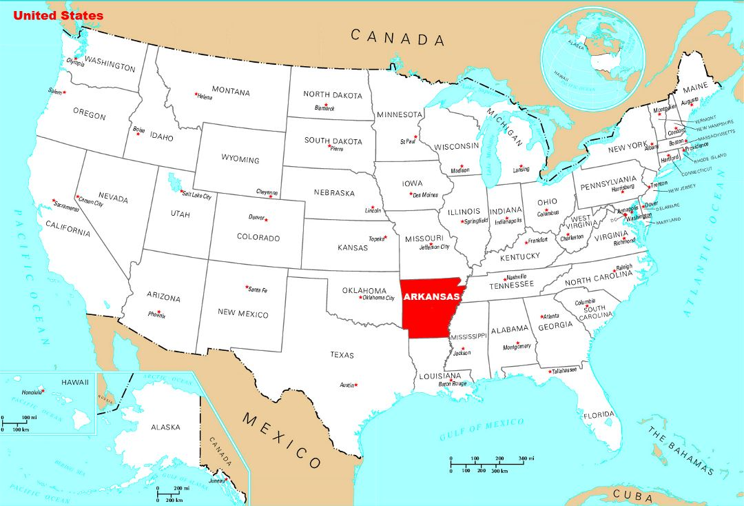 Detailed location map of Arkansas state