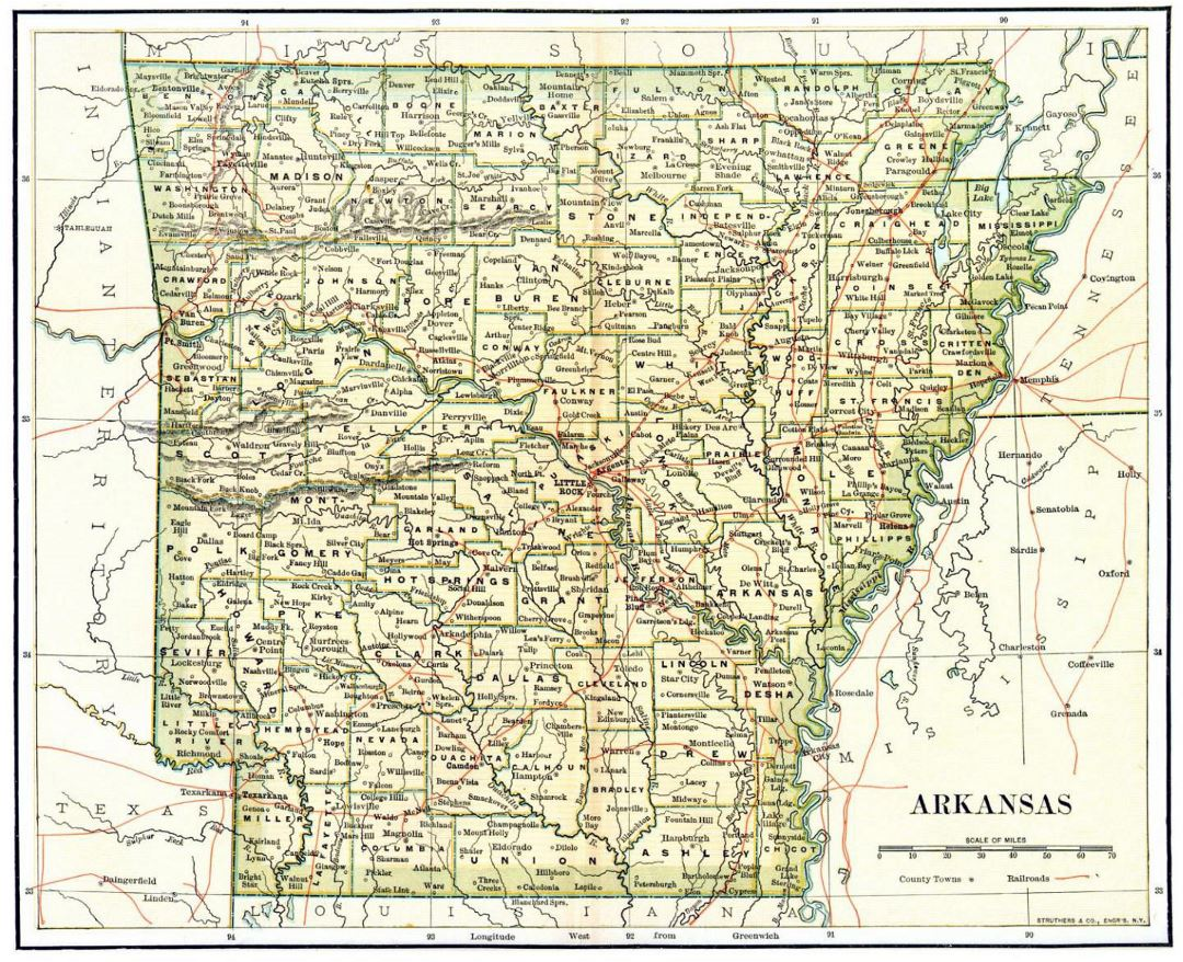 Detailed old administrative map of Arkansas state - 1892