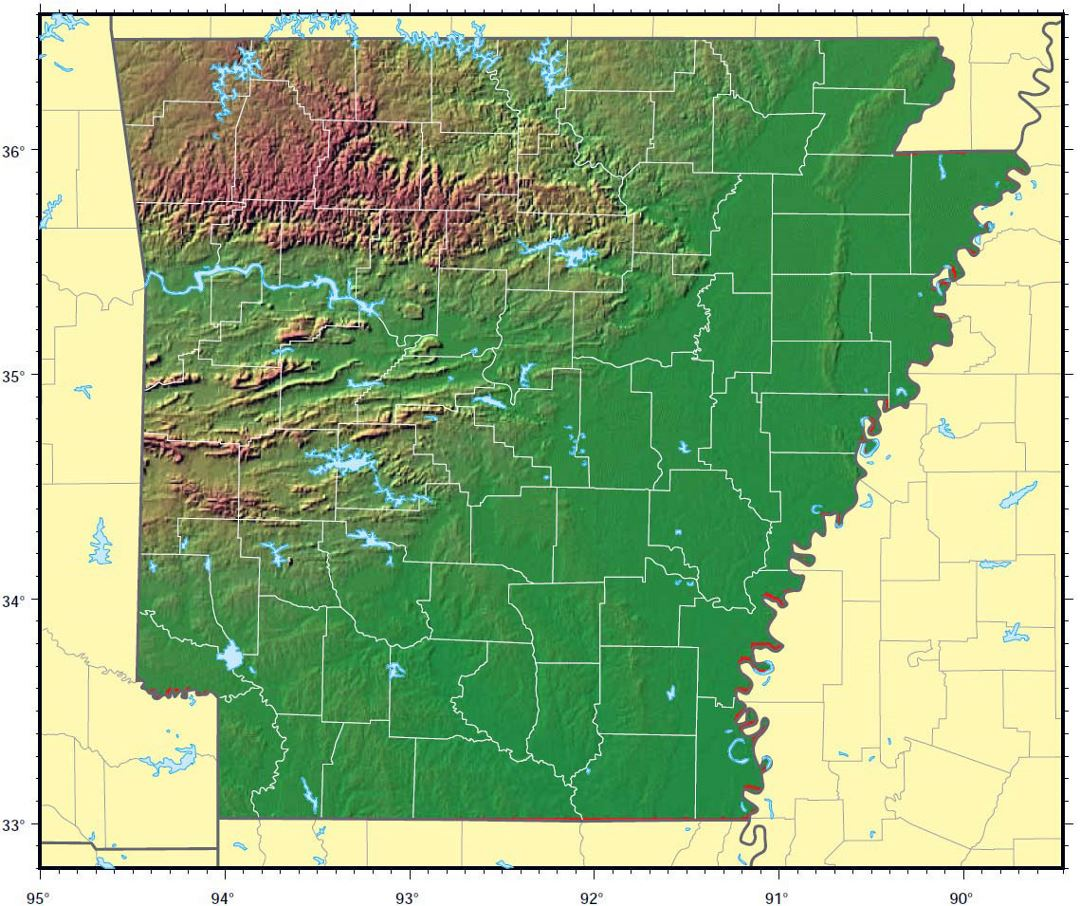 Detailed relief map of Arkansas state