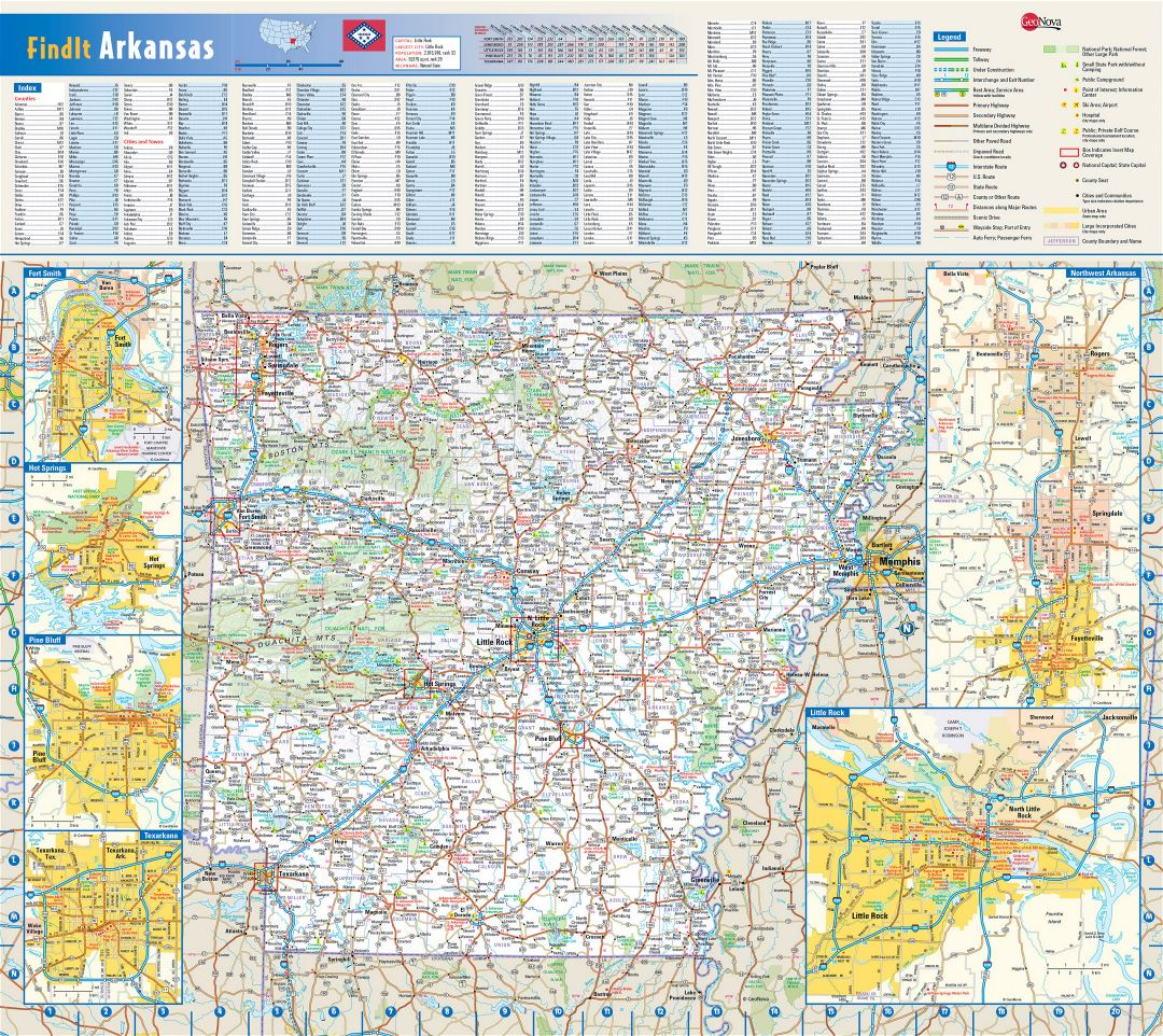Detailed roads and highways map of Arkansas state with national parks, all cities, towns and villages