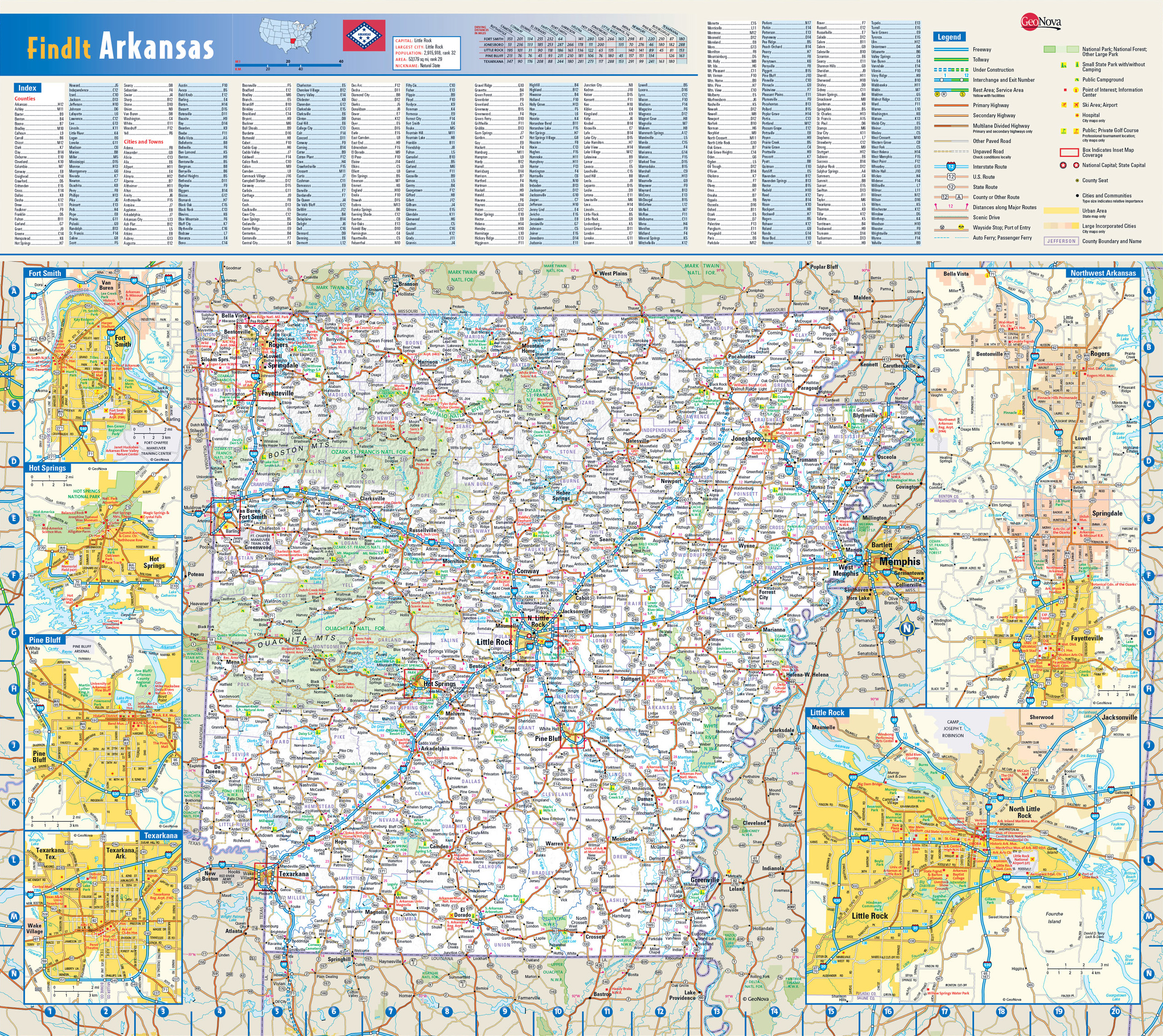 Detailed Roads And Highways Map Of Arkansas State With National - State map of arkansas with cities