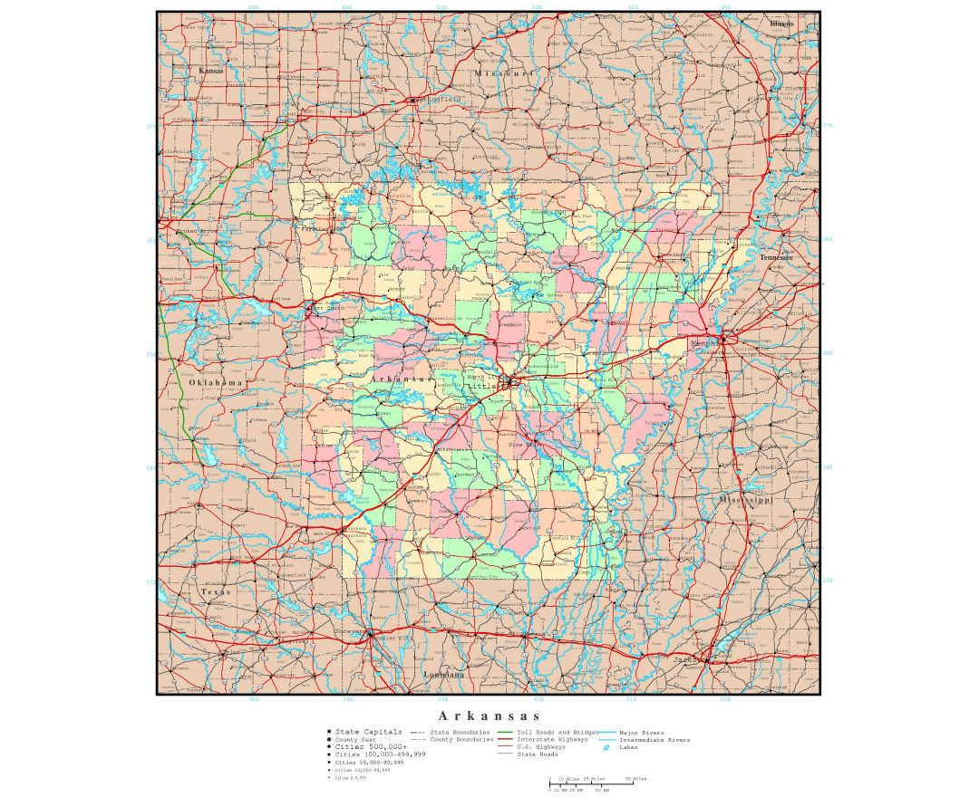 Large detailed administrative map of Arkansas state with roads, highways and major cities