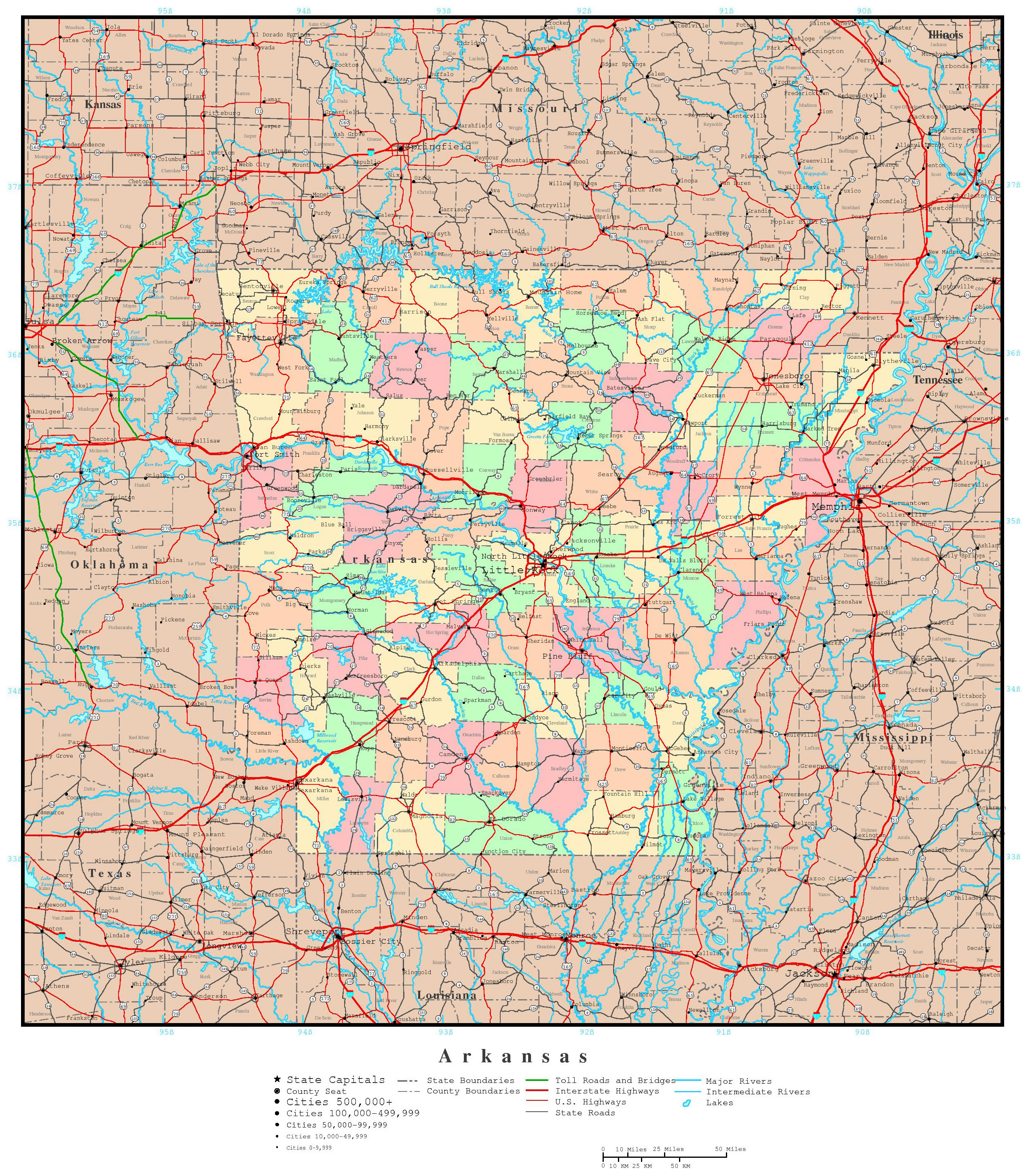 Large Detailed Administrative Map Of Arkansas State With Roads - Map of united states with capitals and major cities